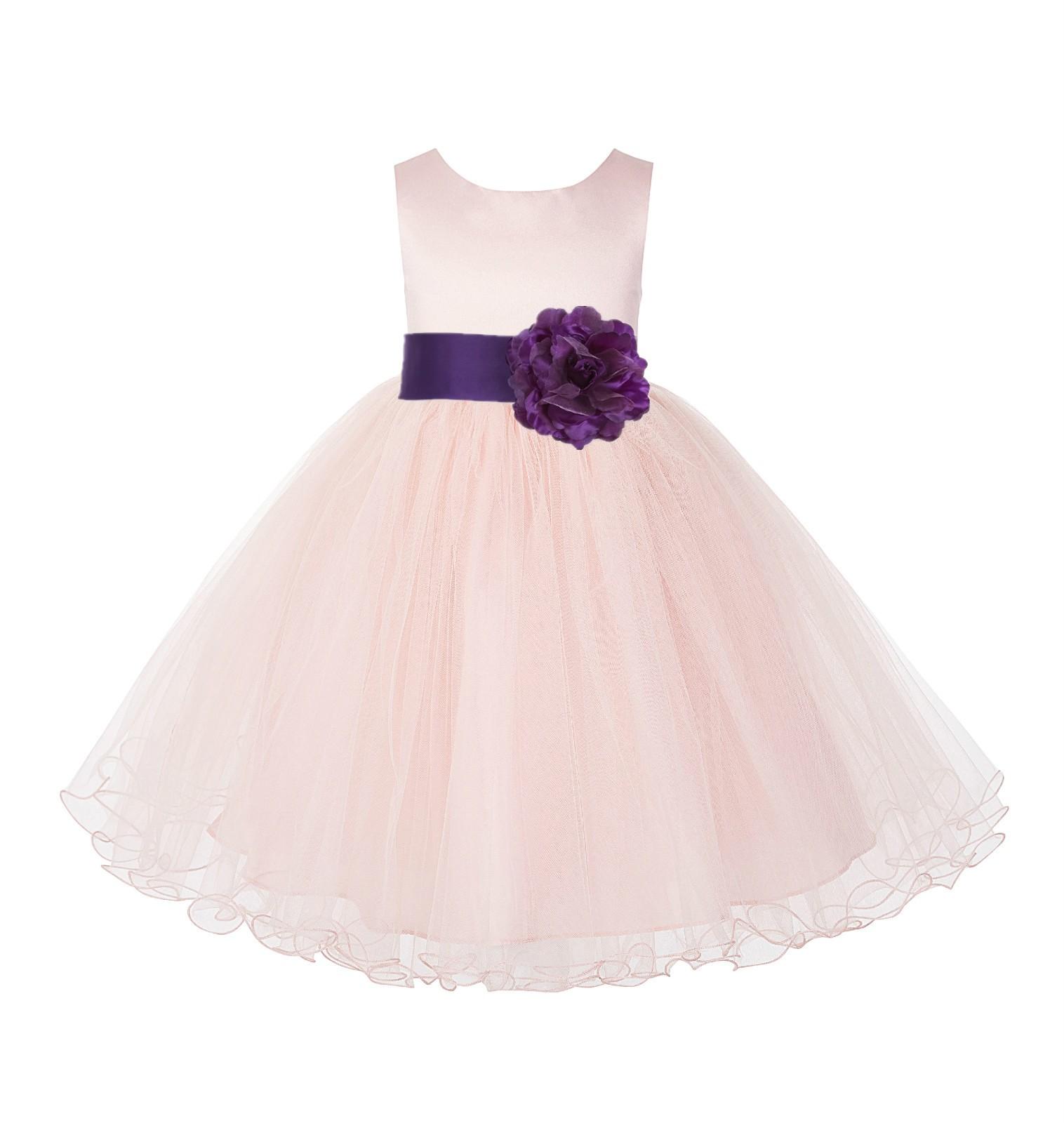Blush Pink / Purple Tulle Rattail Edge Flower Girl Dress Pageant Recital 829S