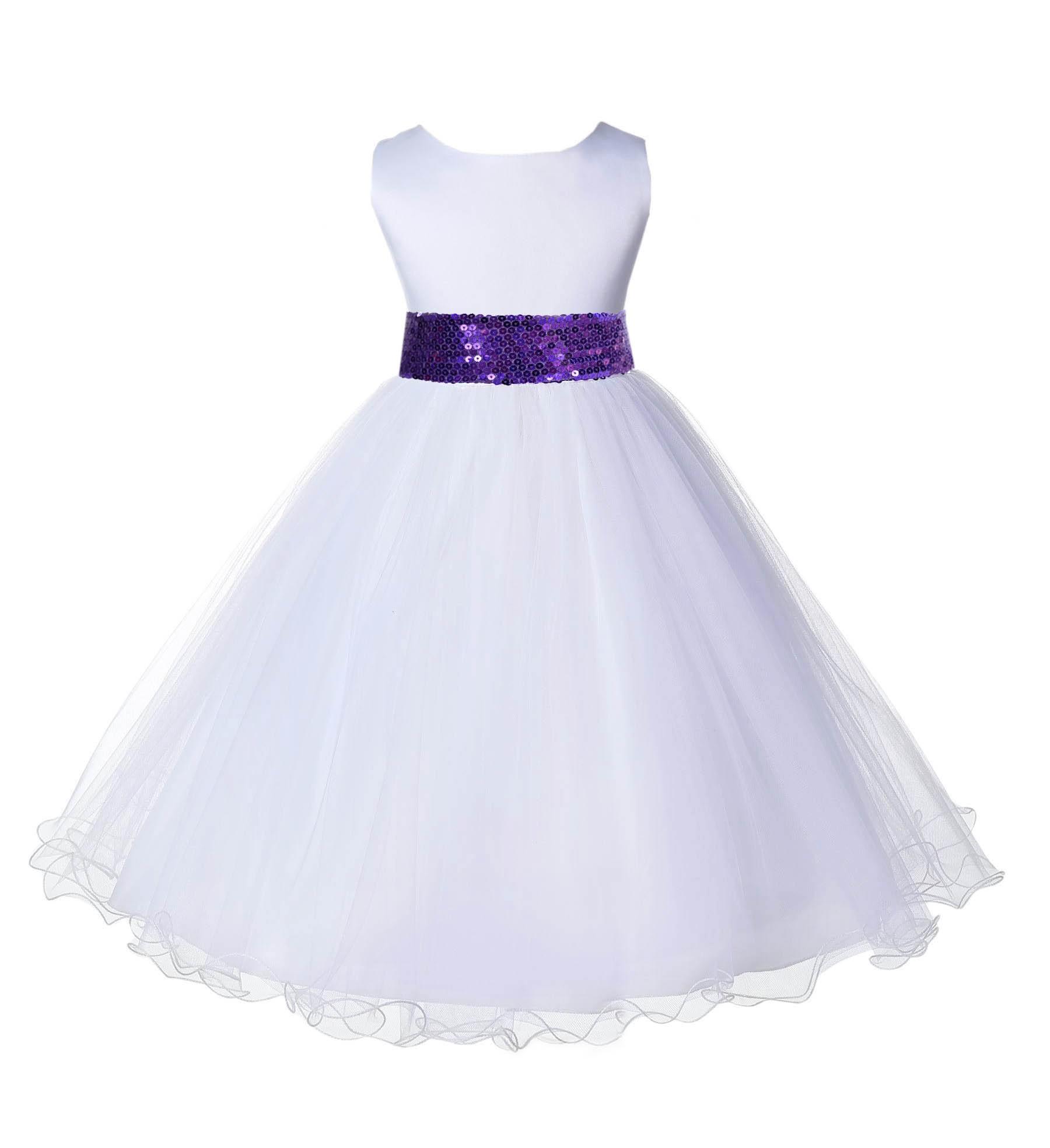 White Tulle Rattail Edge Purple Sequin Sash Flower Girl Dress 829mh