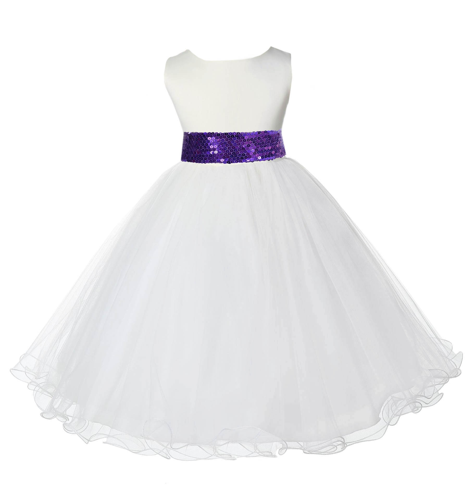Ivory Tulle Rattail Edge Purple Sequin Sash Flower Girl Dress 829mh