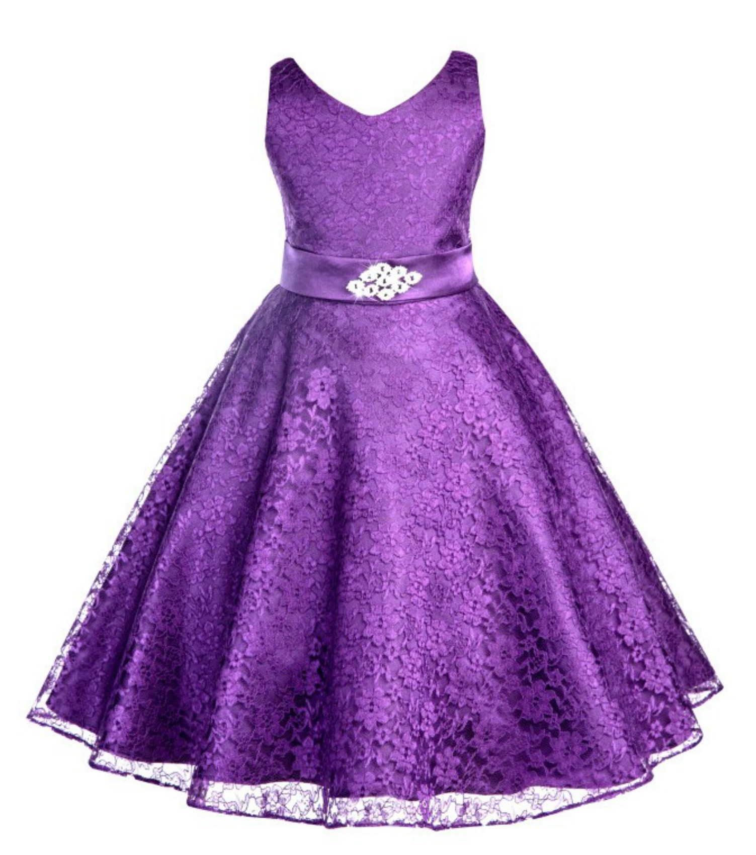 Purple Floral Lace Overlay V-Neck Rhinestone Flower Girl Dress 166S