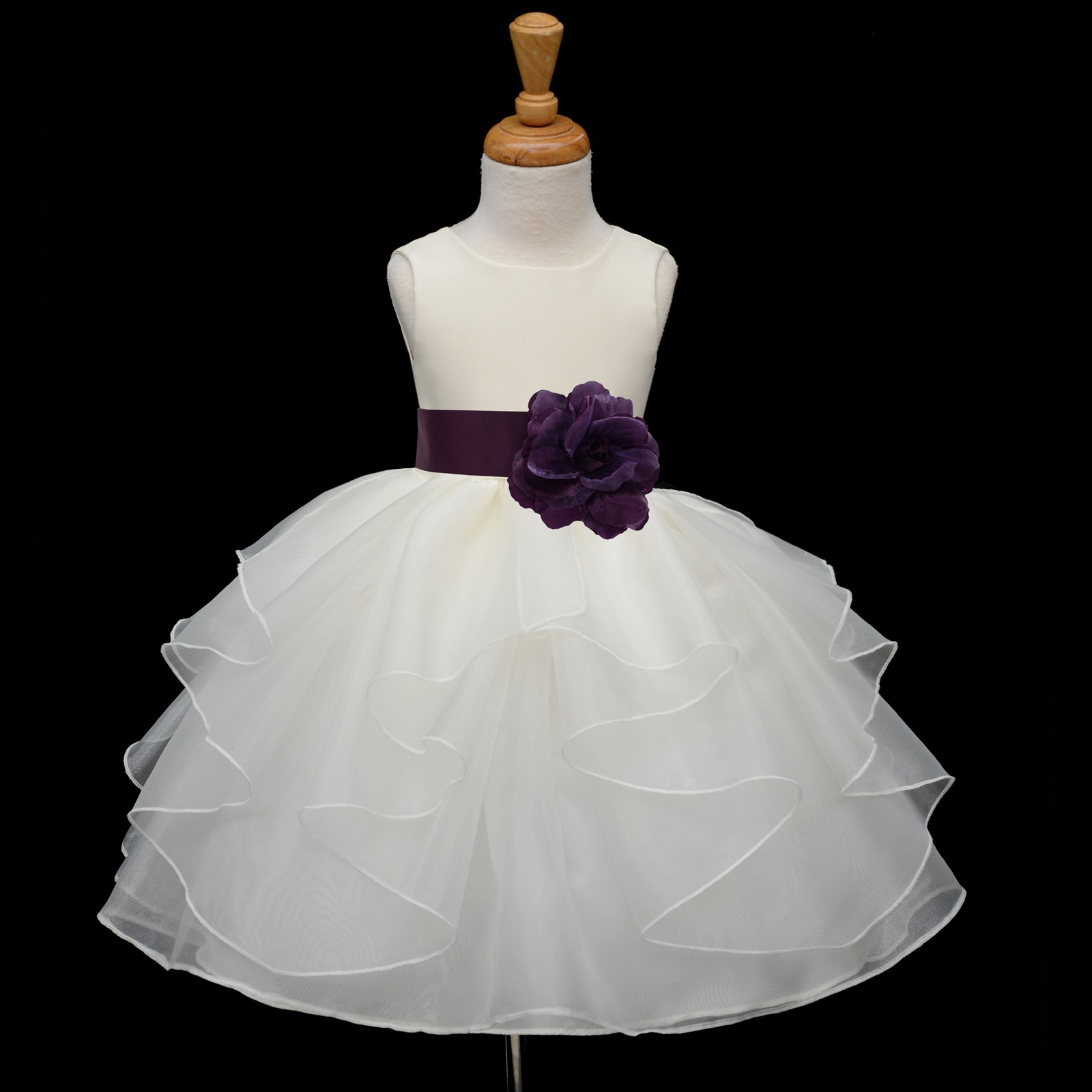 Ivory Plum Satin Shimmering Organza Flower Girl Dress Wedding 4613s Ivory Dresses S Sashes Tiered Organza 4613,Beach Wedding White Dress For Guest