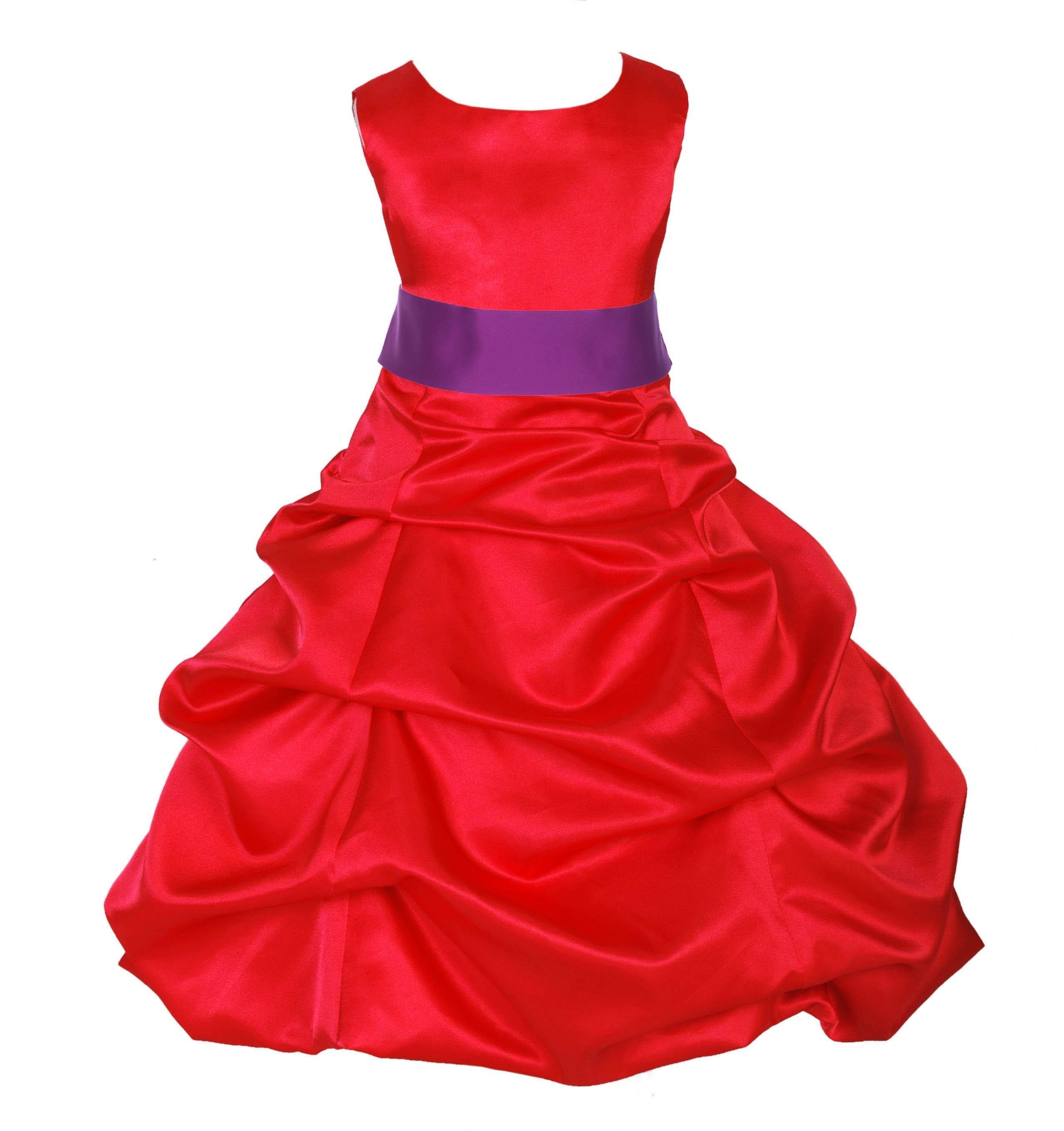 Red/Raspberry Satin Pick-Up Bubble Flower Girl Dress Christmas 806S