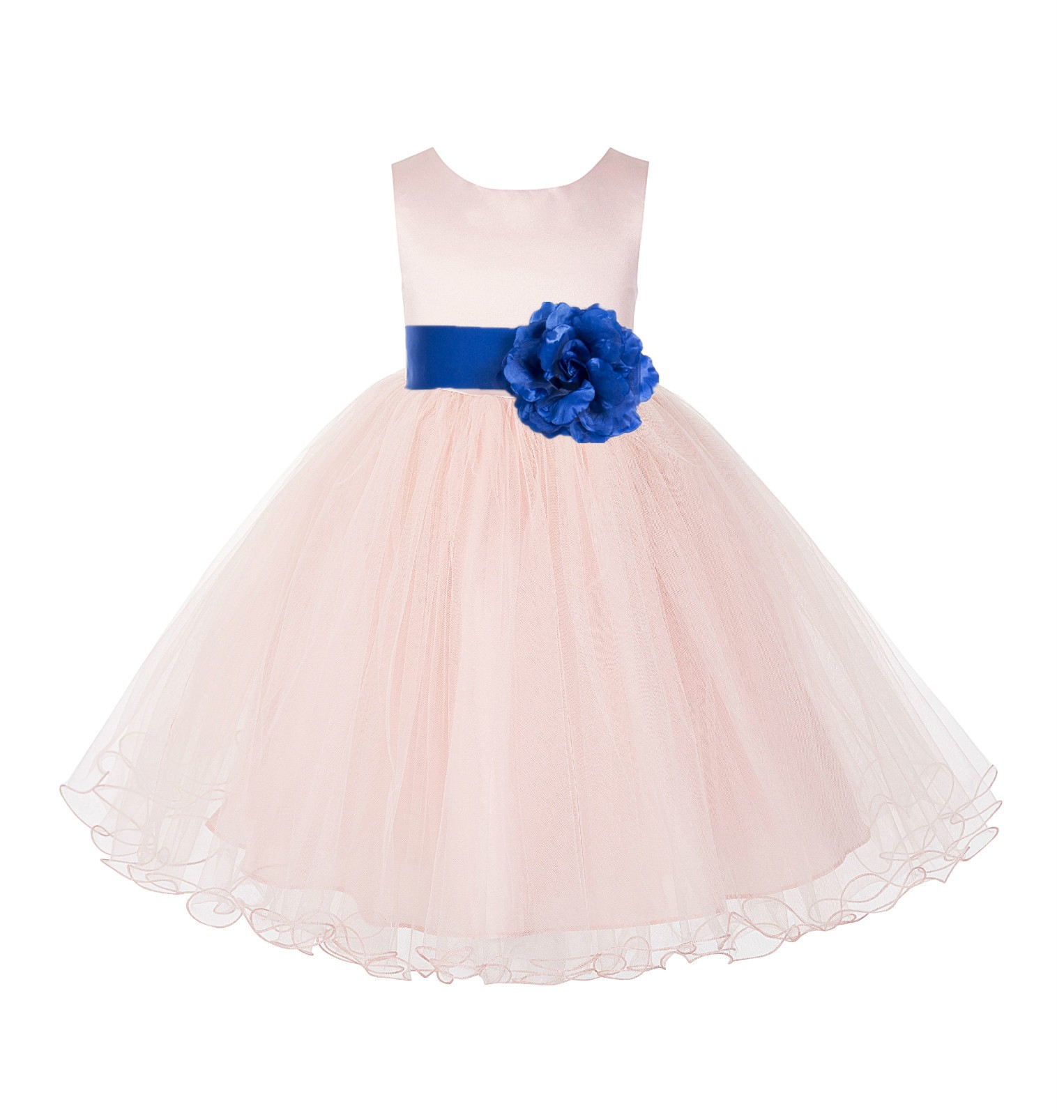 Blush Pink / Royal Blue Tulle Rattail Edge Flower Girl Dress Pageant Recital 829S