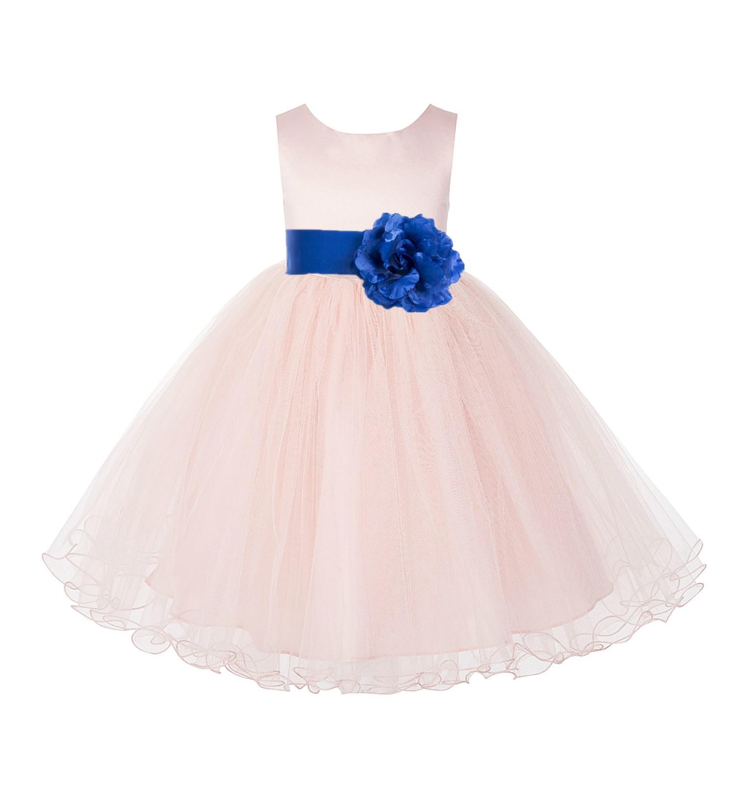 Blush Pink / Royal Blue Tulle Rattail Edge Flower Girl Dress Pageant Recital 829S