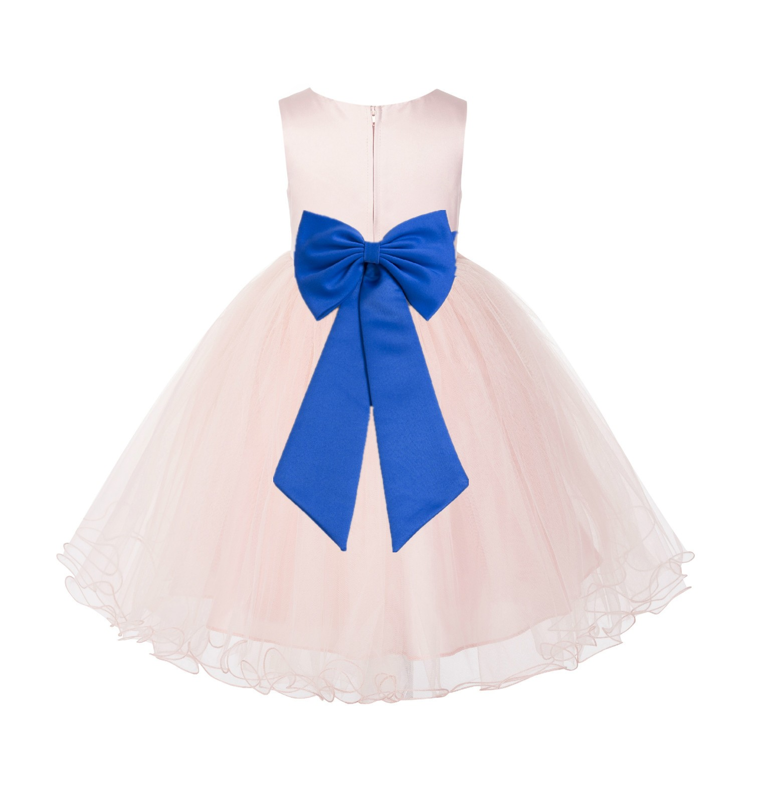 Blush PInk / Royal Blue Tulle Rattail Edge Flower Girl Dress Wedding Bridesmaid 829T