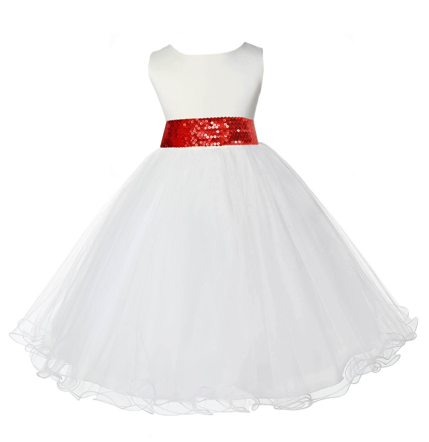 Ivory Tulle Rattail Edge Red Sequin Sash Flower Girl Dress 829mh