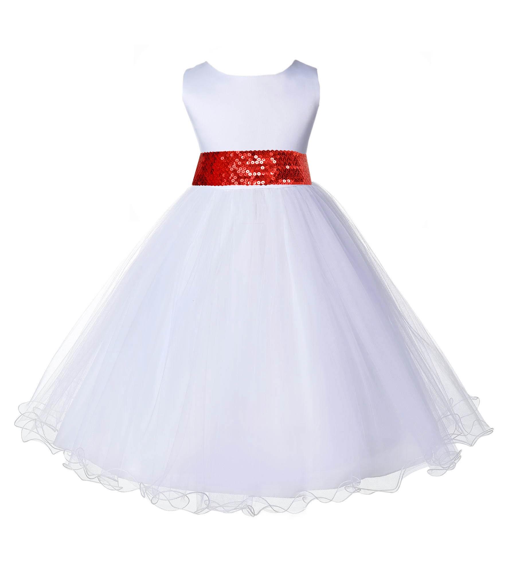 White Tulle Rattail Edge Red Sequin Sash Flower Girl Dress 829mh