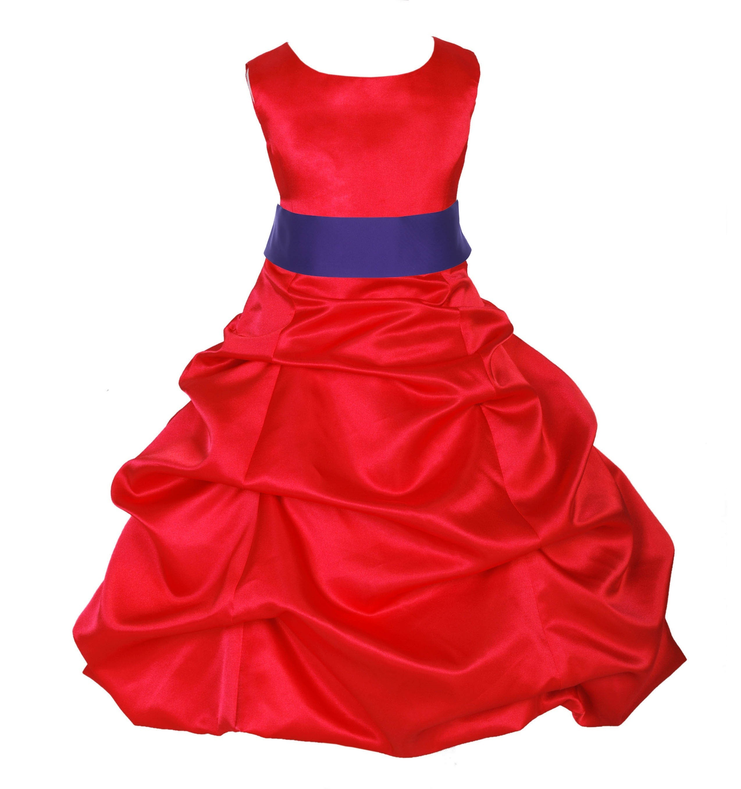 Red/Cadbury Satin Pick-Up Bubble Flower Girl Dress Christmas 806S