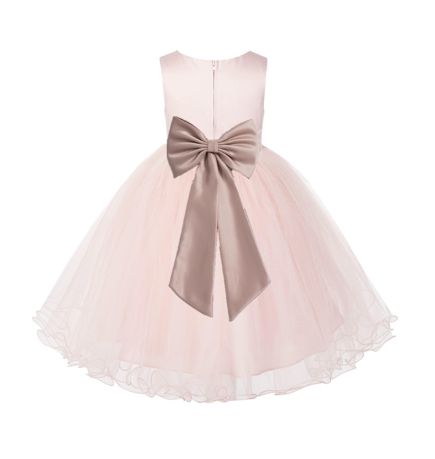 Blush PInk / Rose Gold Tulle Rattail Edge Flower Girl Dress Wedding Bridesmaid 829T