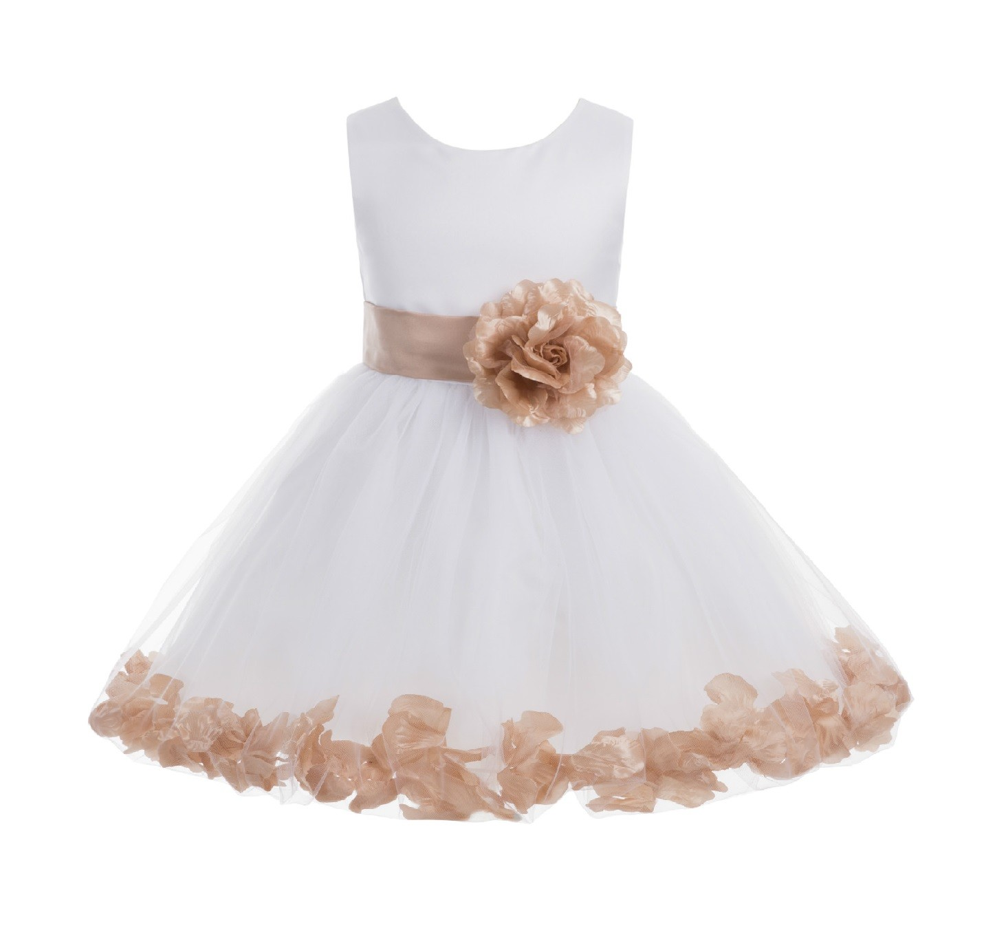 White/ Rose Gold Rose Petals Tulle Flower Girl Dress Wedding 305T