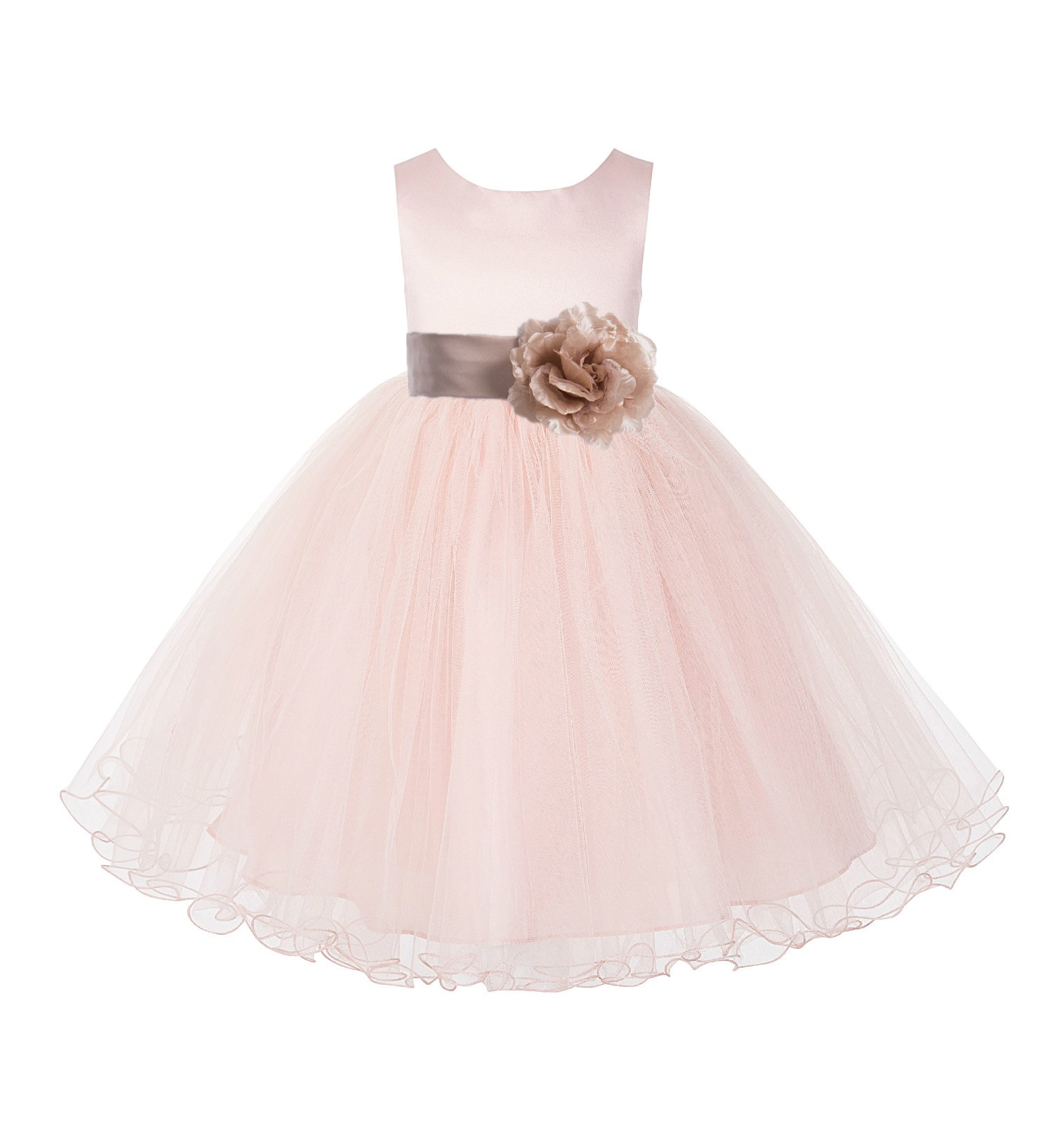 Blush Pink /Rose gold Tulle Rattail Edge Flower Girl Dress Pageant Recital 829S