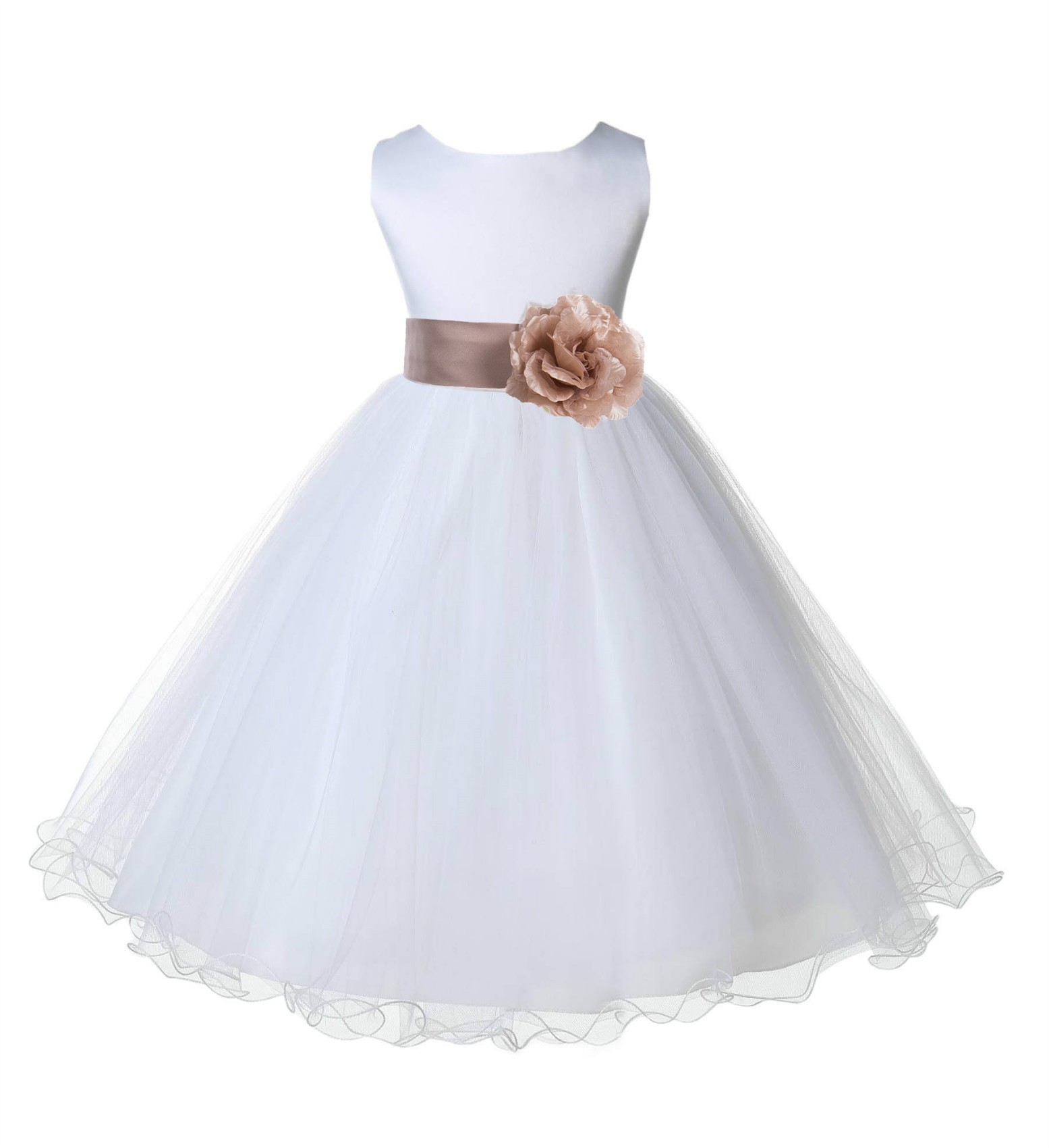 White/Rose Gold Tulle Rattail Edge Flower Girl Dress Wedding Bridal 829S