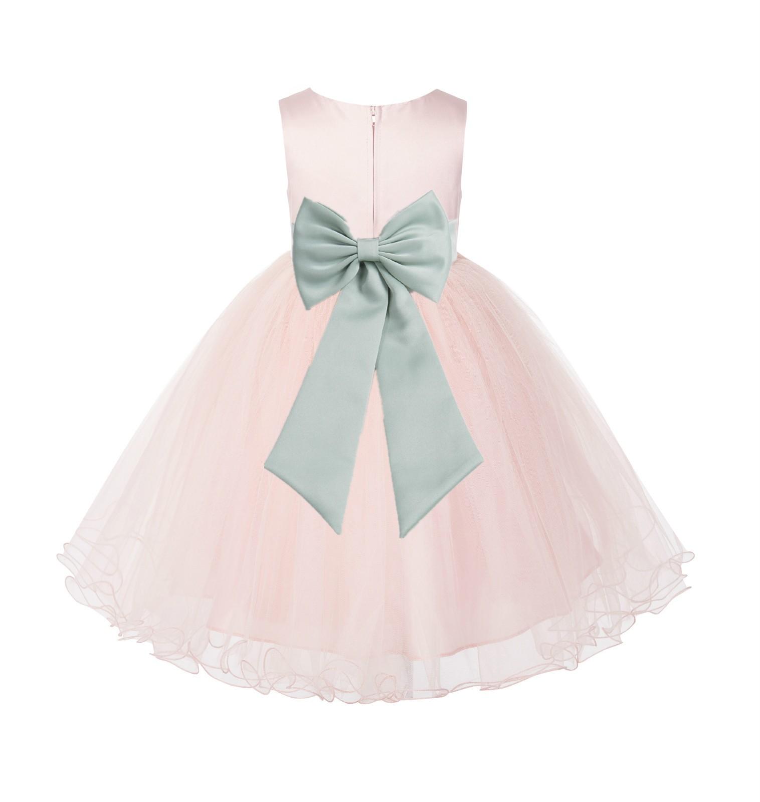 Blush PInk / Sage Tulle Rattail Edge Flower Girl Dress Wedding Bridesmaid 829T
