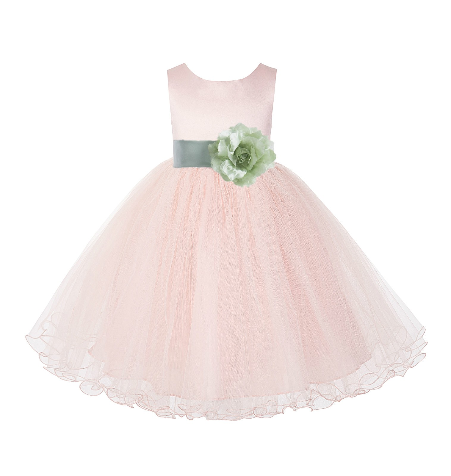 Blush Pink / Sage Tulle Rattail Edge Flower Girl Dress Pageant Recital 829S