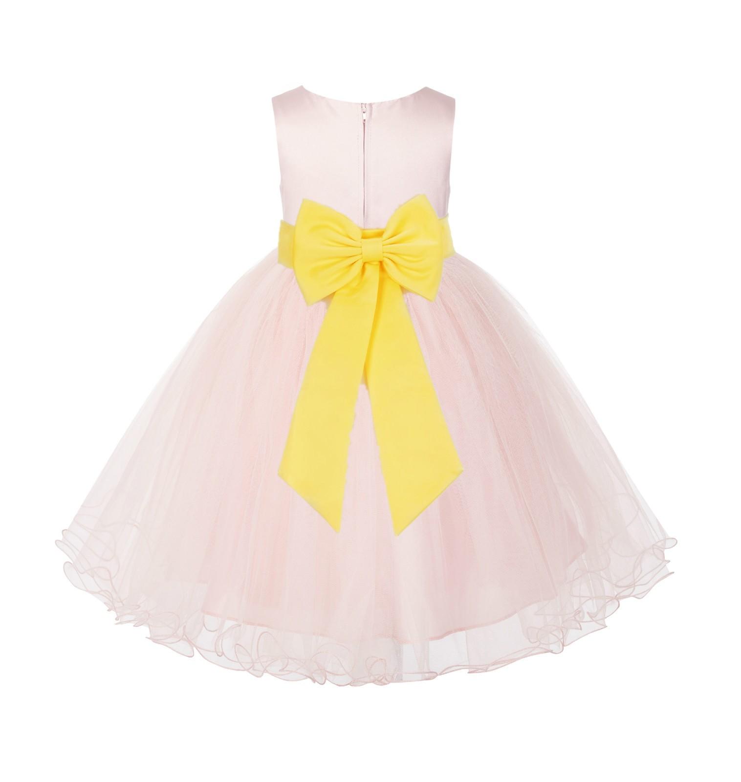 Blush PInk / Sunbeam Tulle Rattail Edge Flower Girl Dress Wedding Bridesmaid 829T