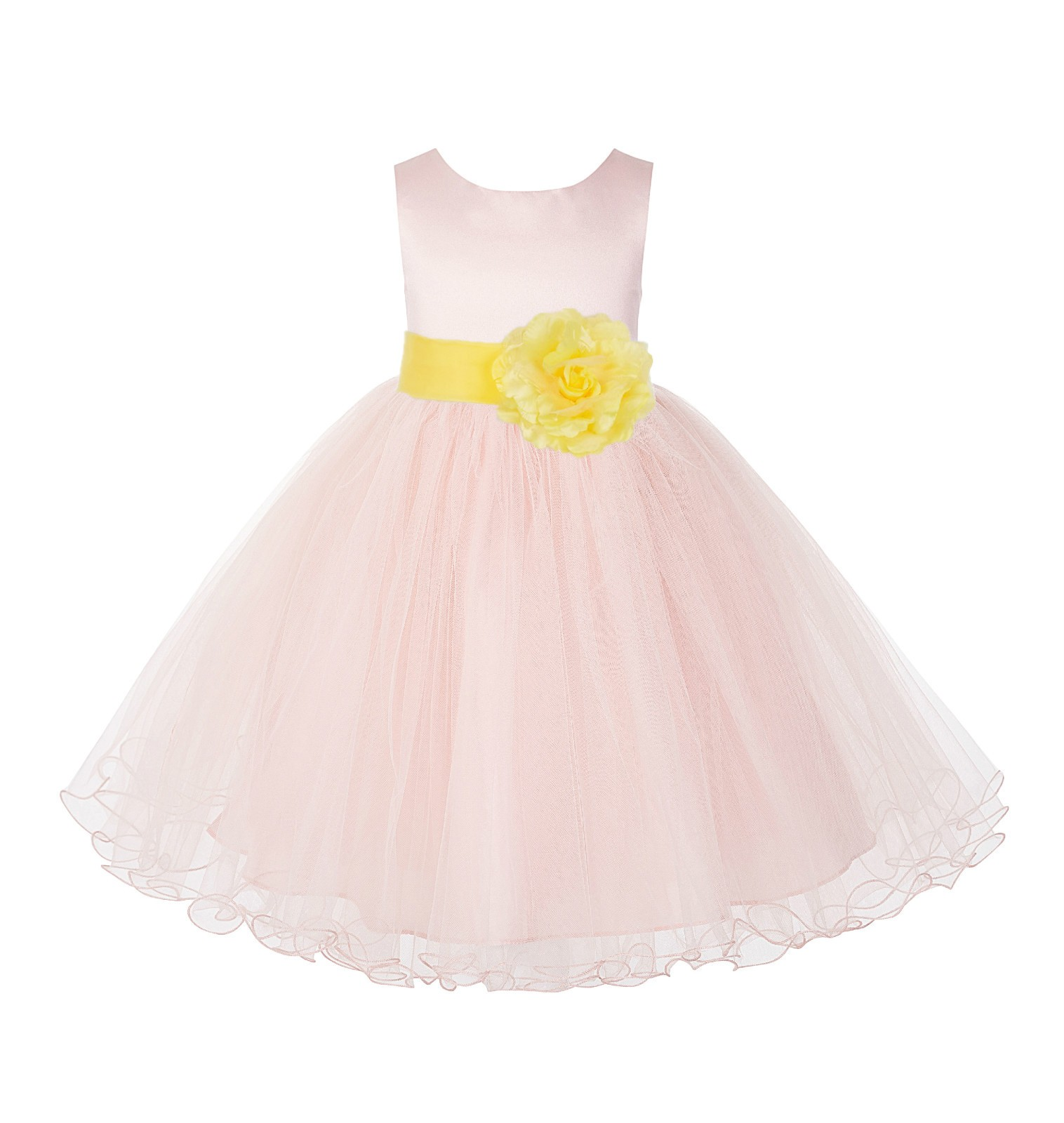 Blush Pink / Sunbeam Tulle Rattail Edge Flower Girl Dress Pageant Recital 829S