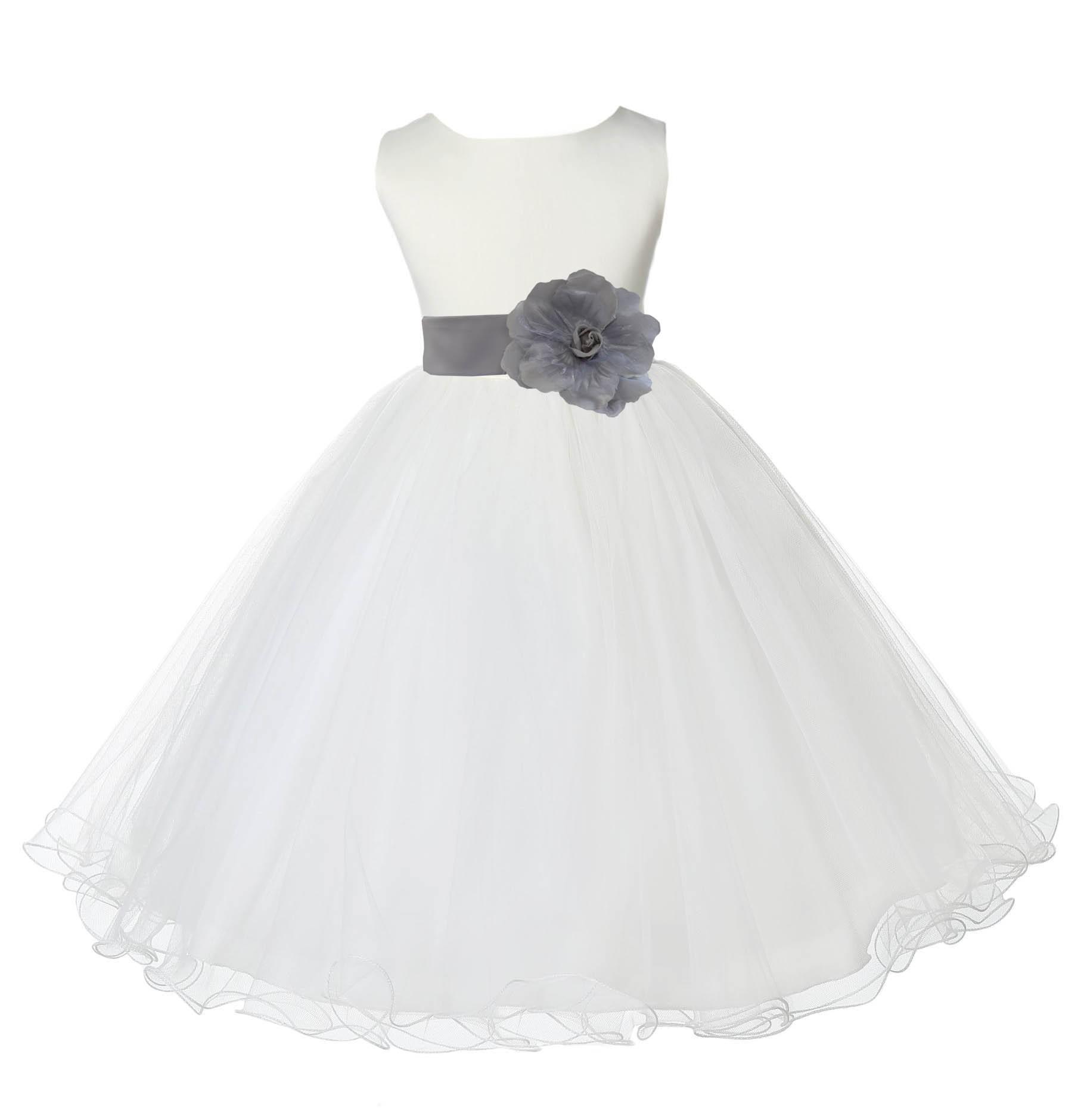 Ivorysilver Tulle Rattail Edge Flower Girl Dress Pageant Recital