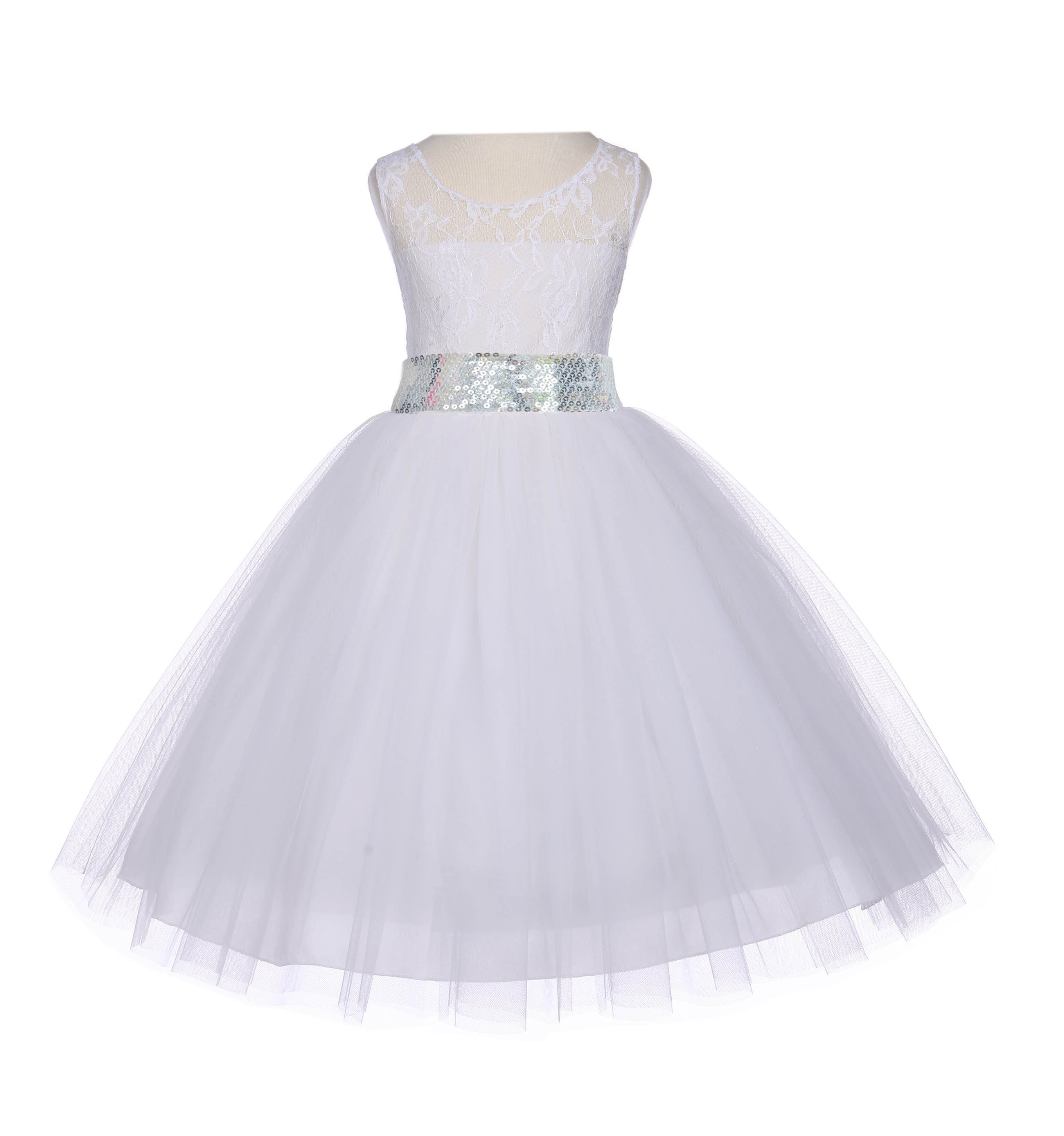 88f07fc38b5 Ivory Floral Lace Bodice Tulle Silver Sequin Flower Girl Dress 153mh ...