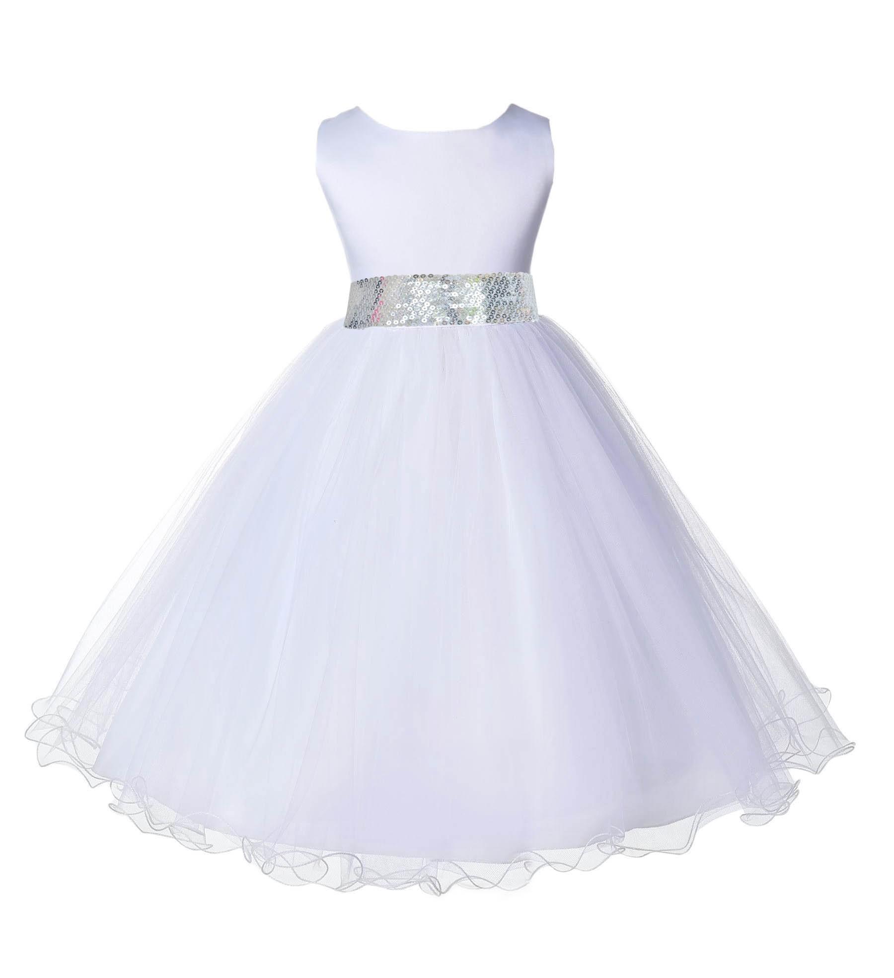 White tulle rattail edge silver sequin sash flower girl dress 829mh mightylinksfo