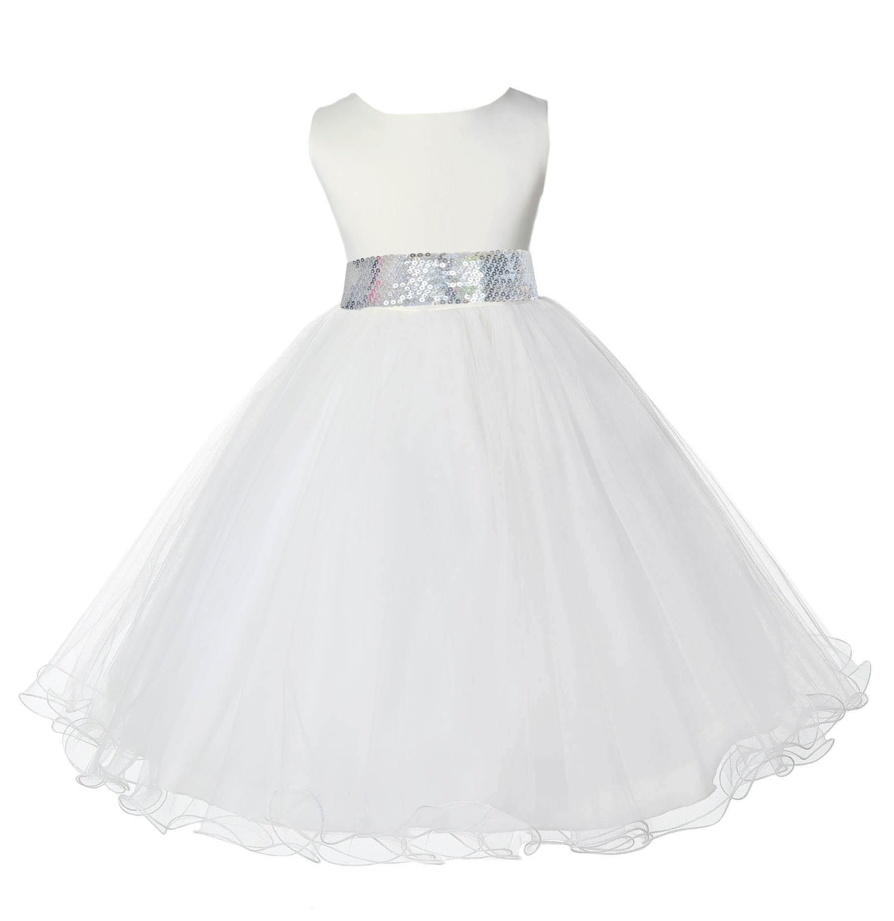 Ivory Tulle Rattail Edge Silver Sequin Sash Flower Girl Dress 829mh