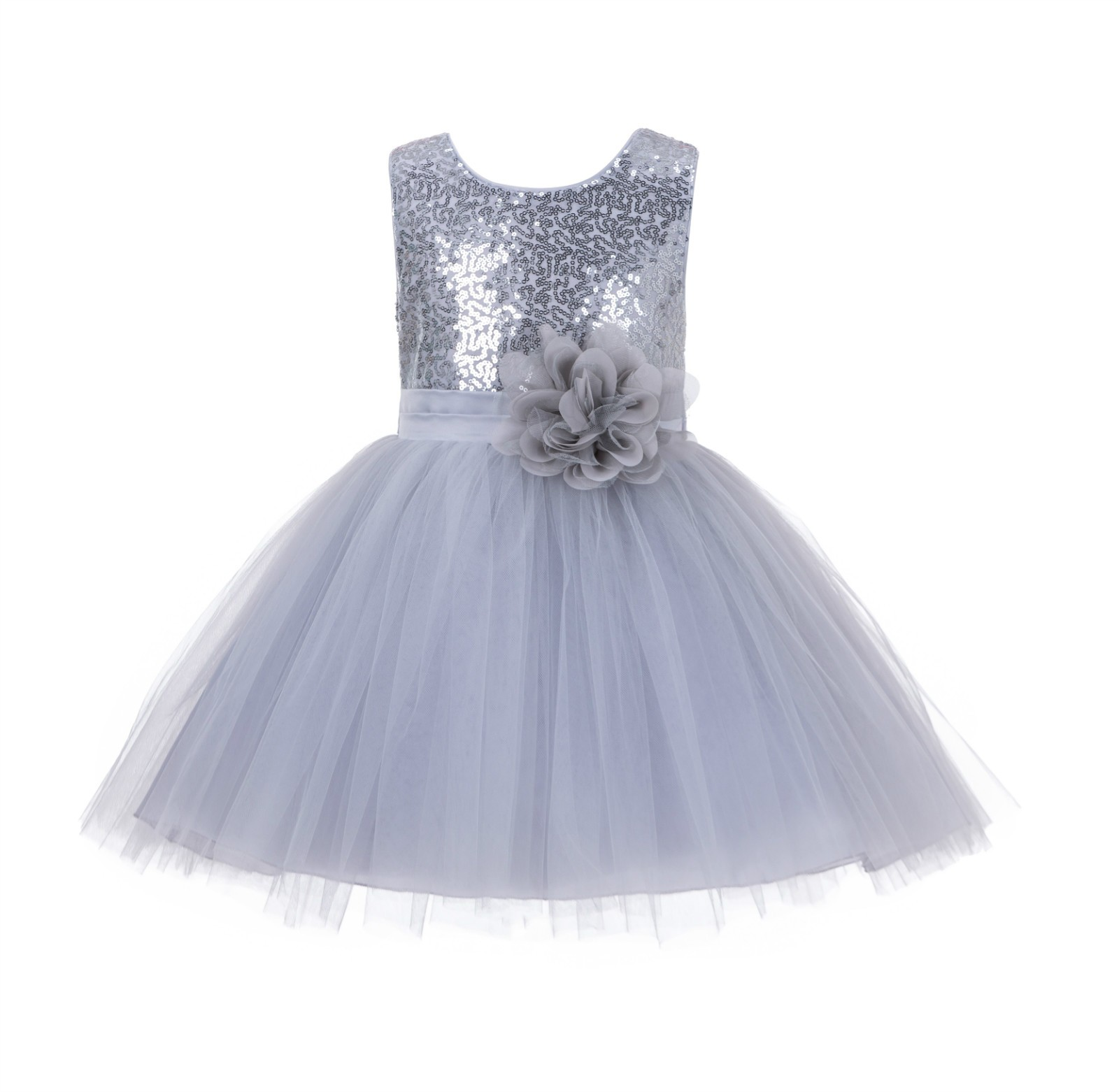 Silver Dazzling Sequins Mesh Tulle Flower Girl Dress Elegant 124NF