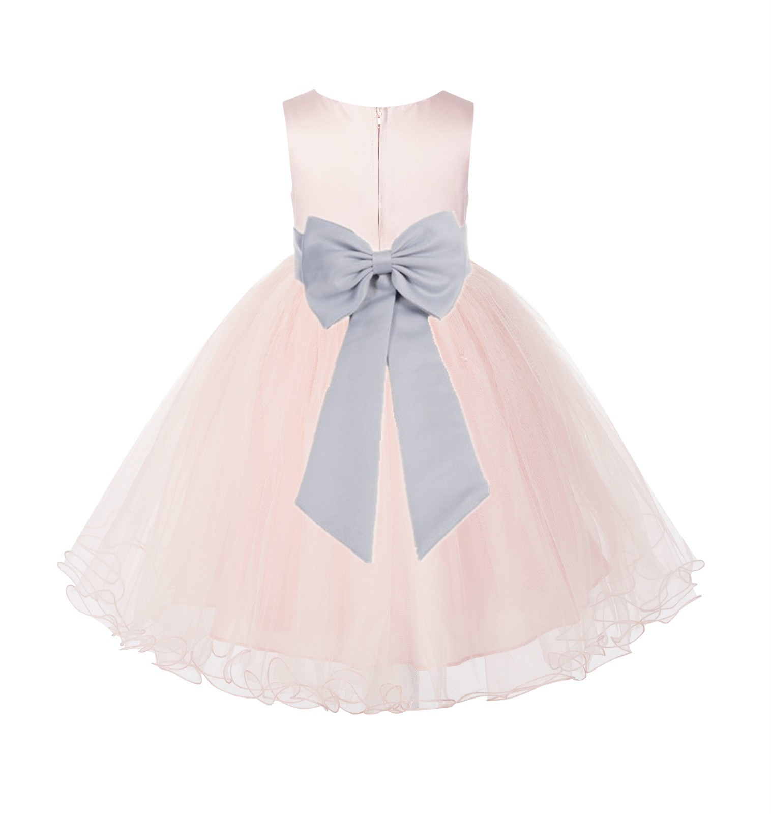 Blush PInk / Silver Tulle Rattail Edge Flower Girl Dress Wedding Bridesmaid 829T