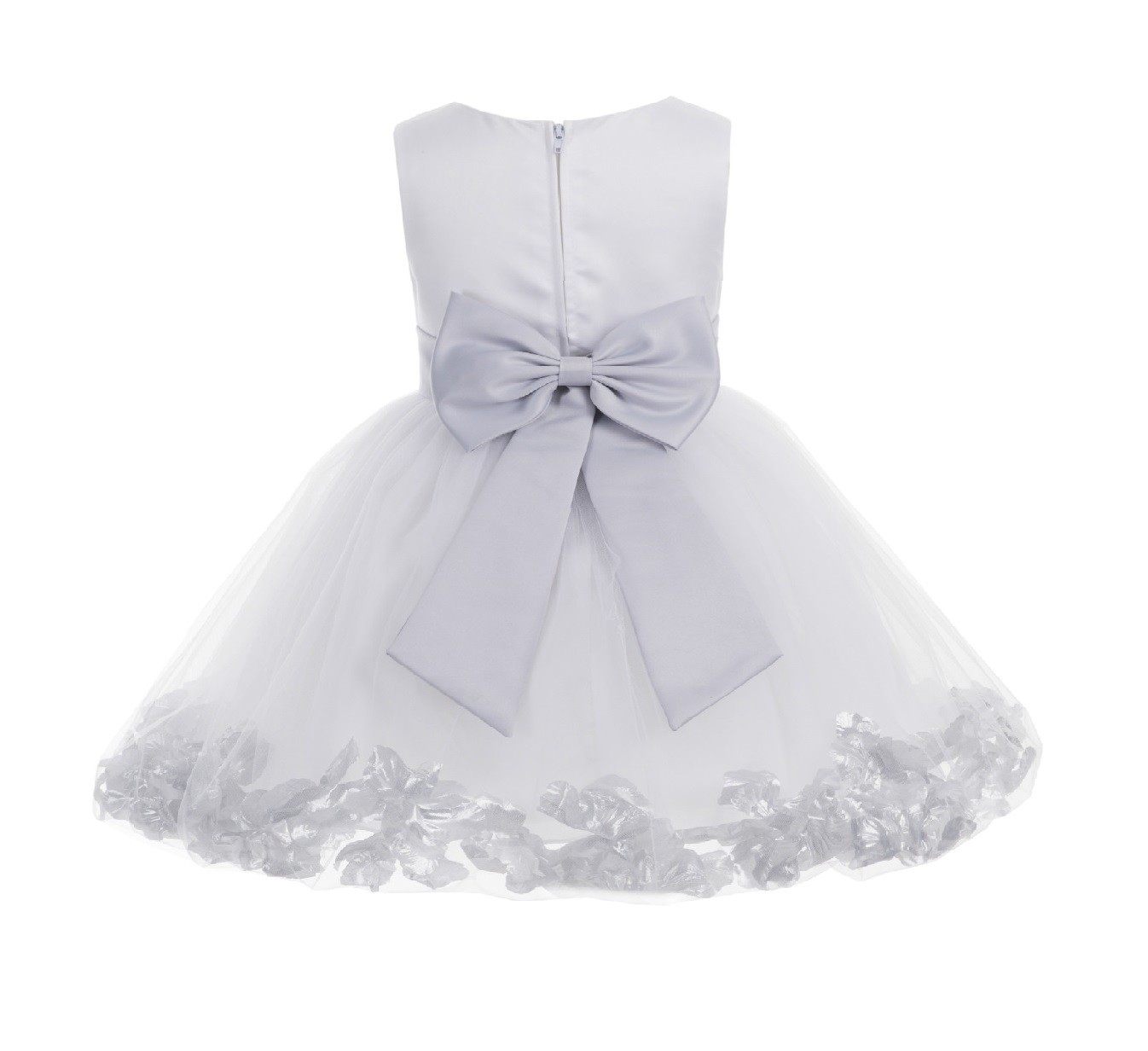 White/ Silver Rose Petals Tulle Flower Girl Dress Wedding 305T