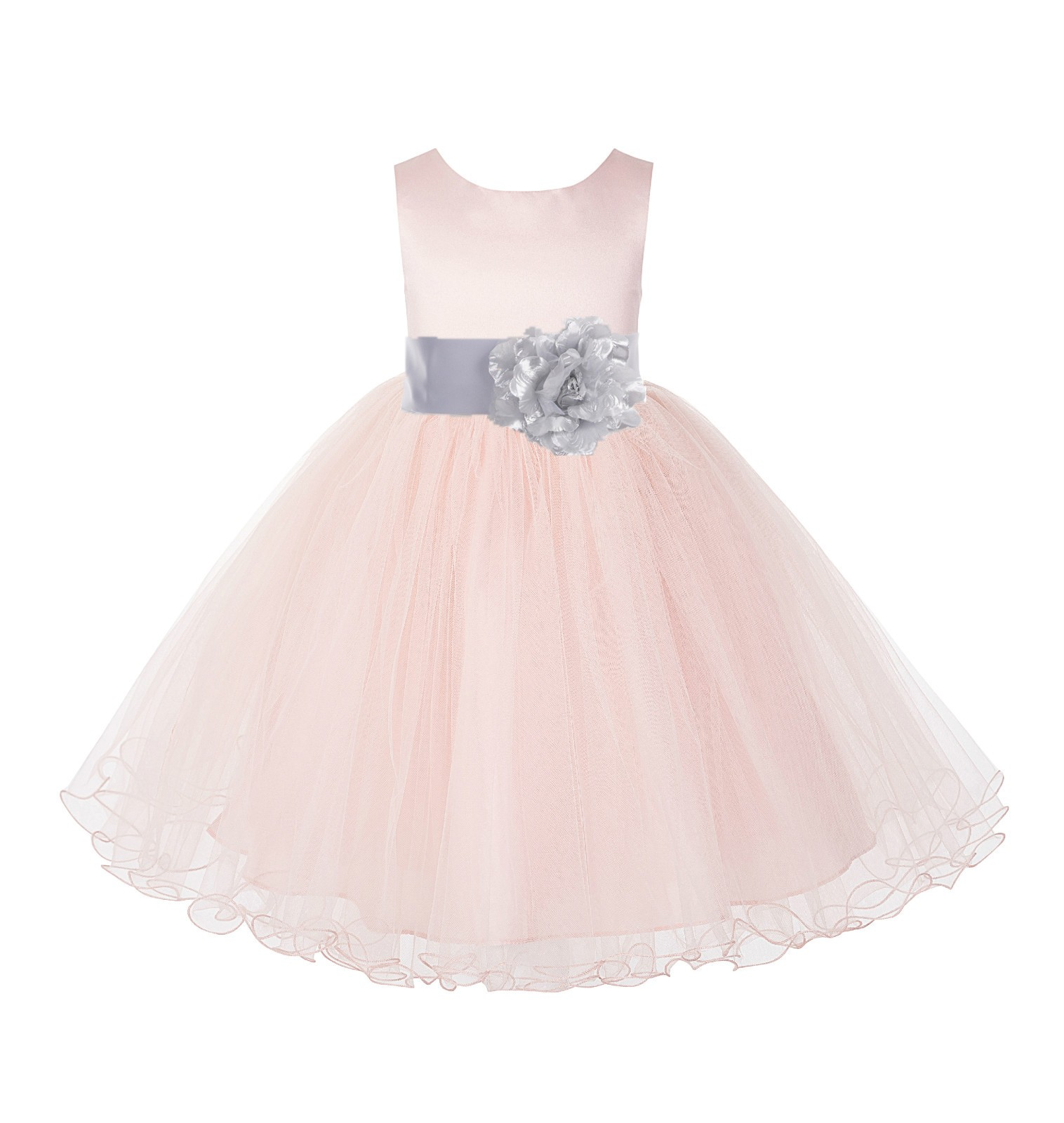 Blush Pink / Silver Tulle Rattail Edge Flower Girl Dress Pageant Recital 829S