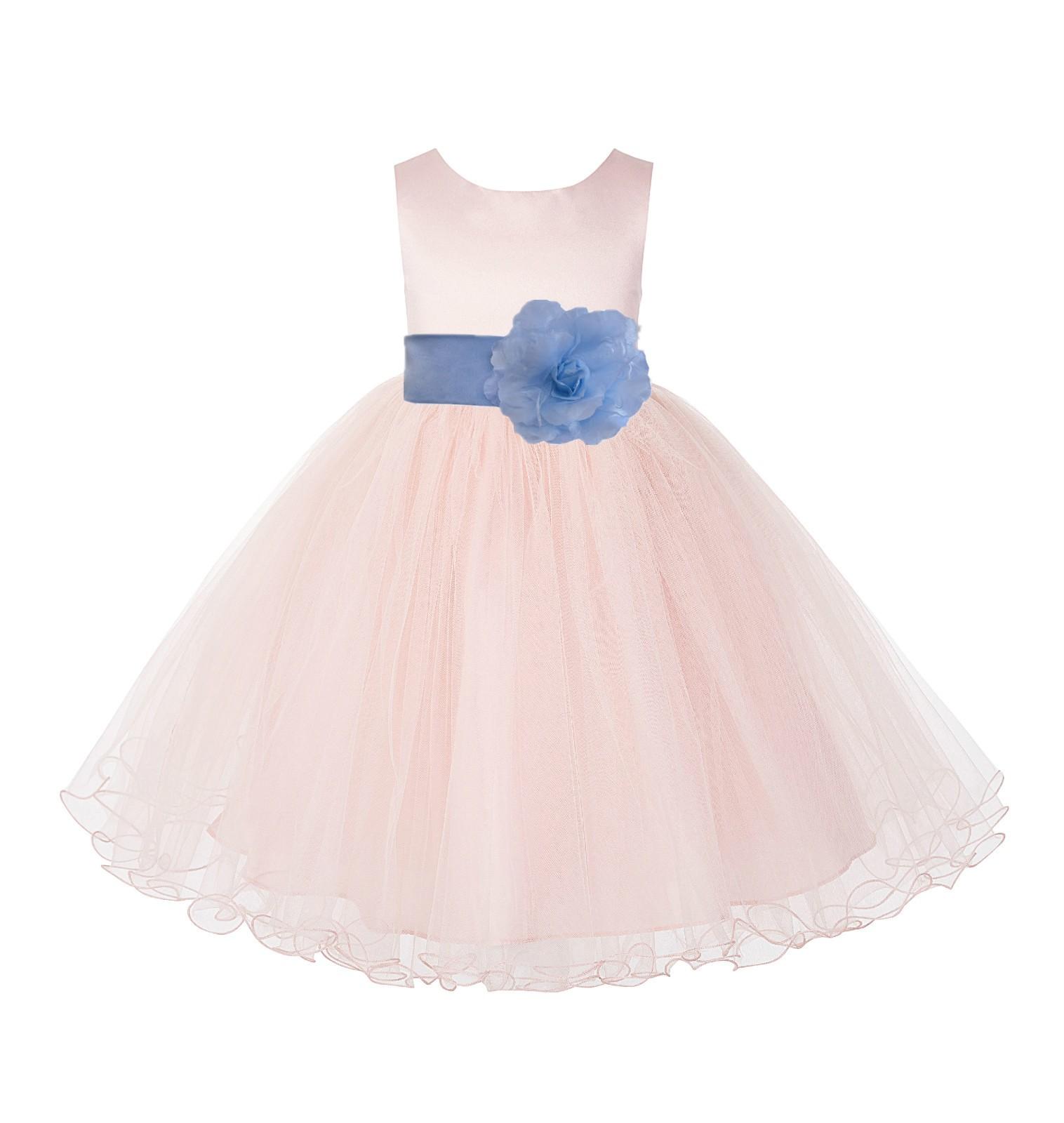 Blush PInk / Sky Tulle Rattail Edge Flower Girl Dress Wedding Bridesmaid 829T