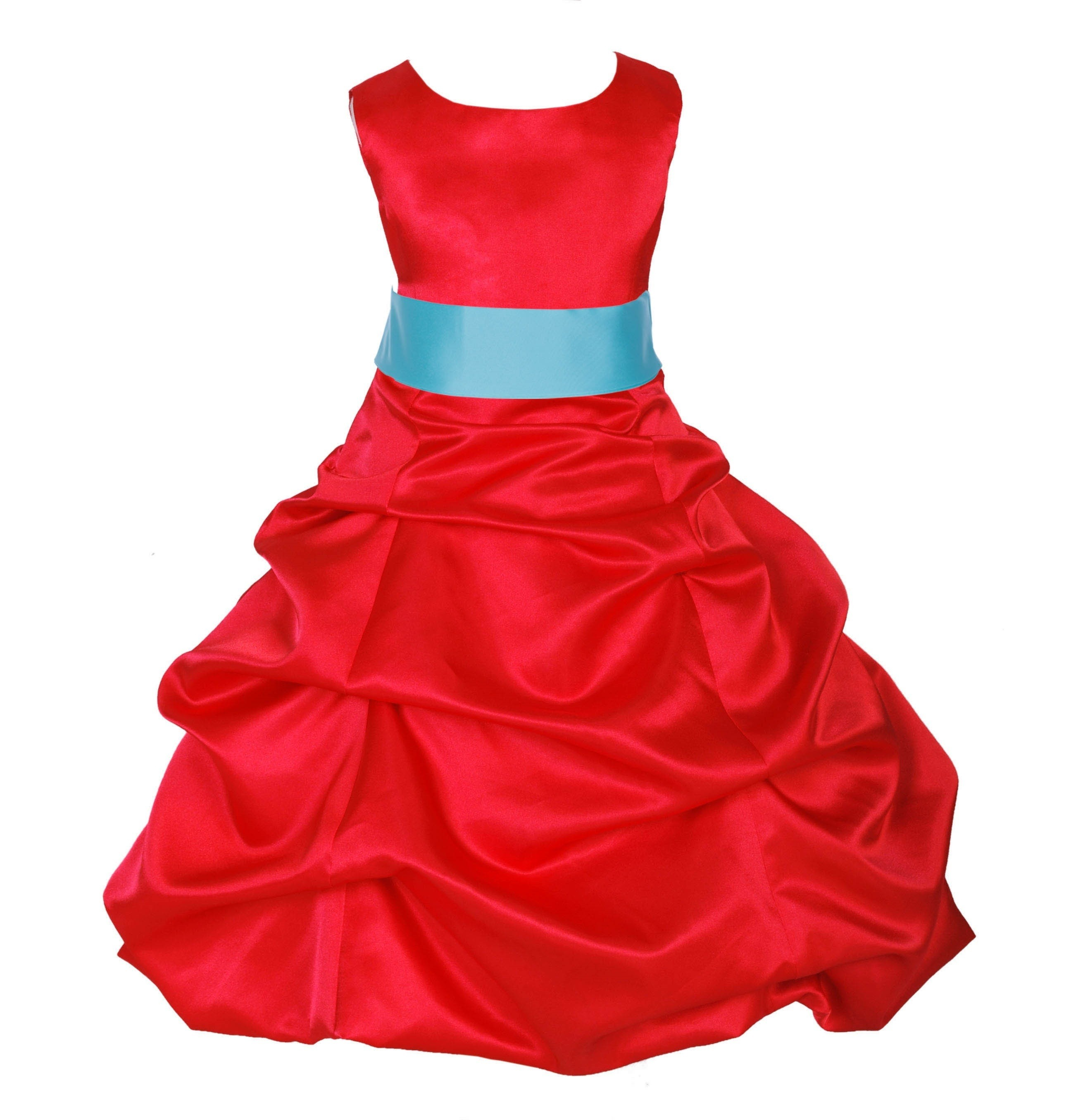 Red/Spa Satin Pick-Up Bubble Flower Girl Dress Christmas 806S