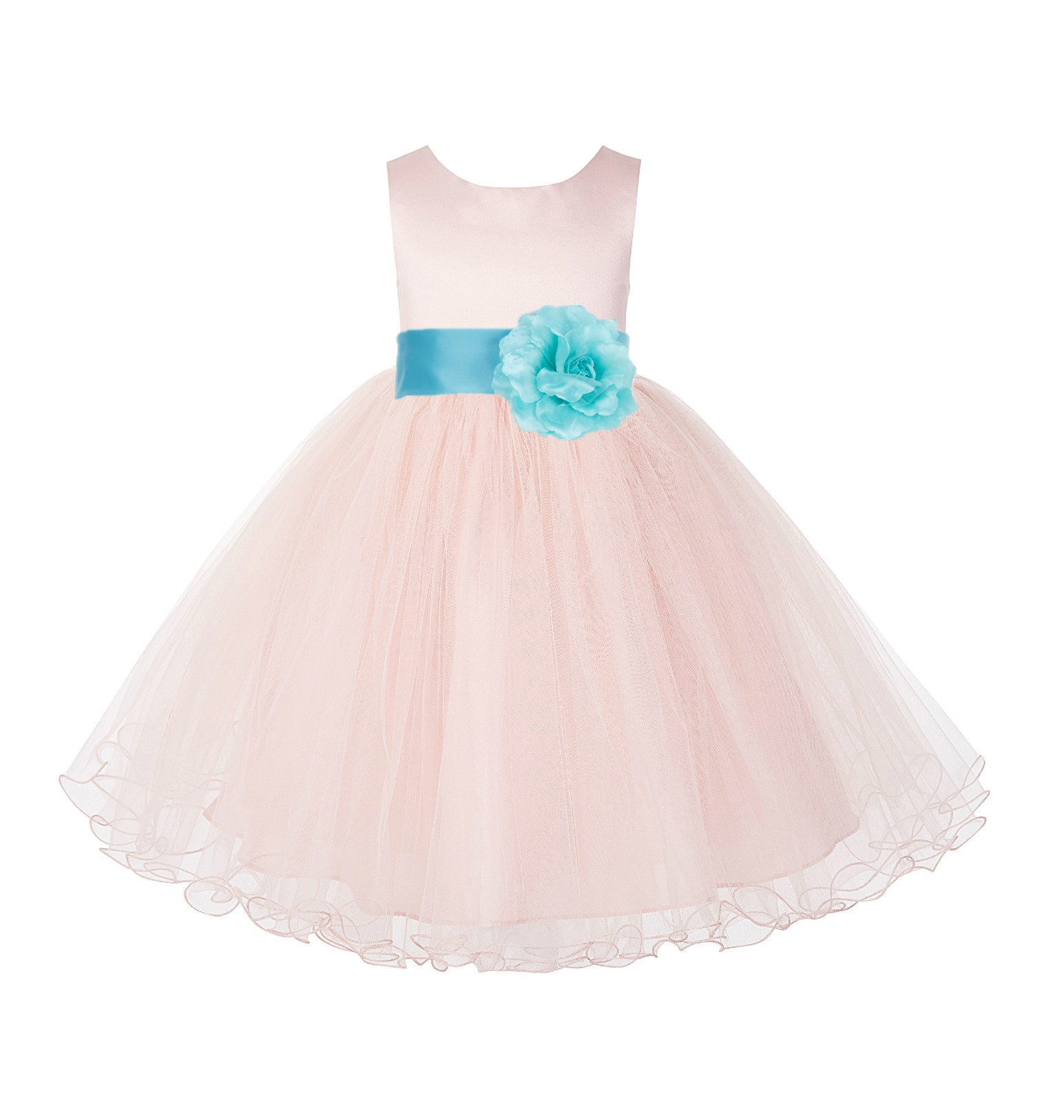 Blush Pink / Spa Tulle Rattail Edge Flower Girl Dress Pageant Recital 829S