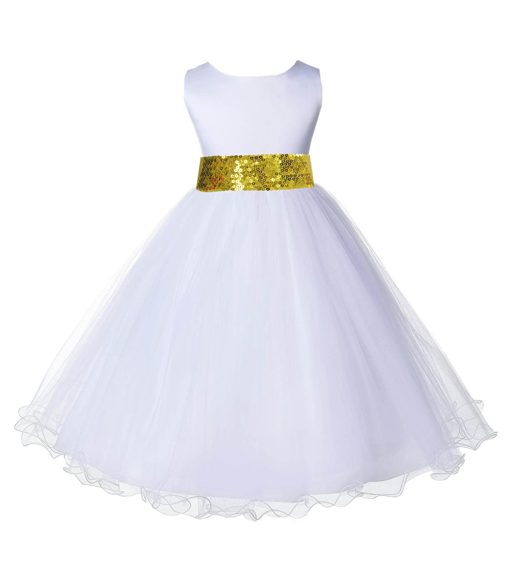 White Tulle Rattail Edge Sunbeam Sequin Sash Flower Girl Dress 829mh