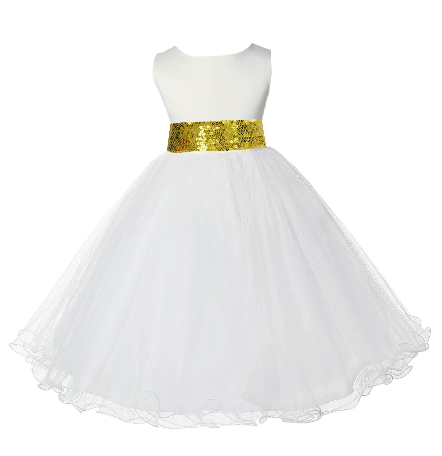 Ivory Tulle Rattail Edge Sunbeam Sequin Sash Flower Girl Dress 829mh