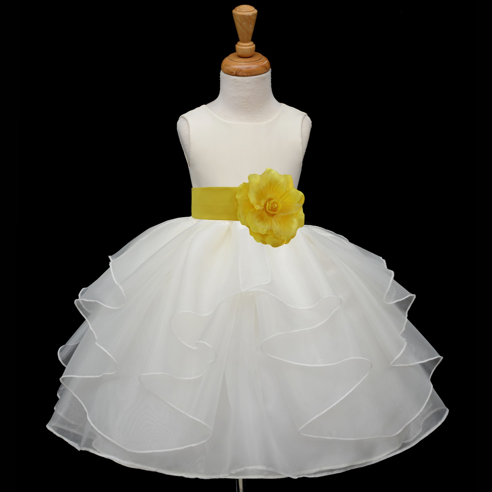 Ivorysunbeam Satin Shimmering Organza Flower Girl Dress Wedding