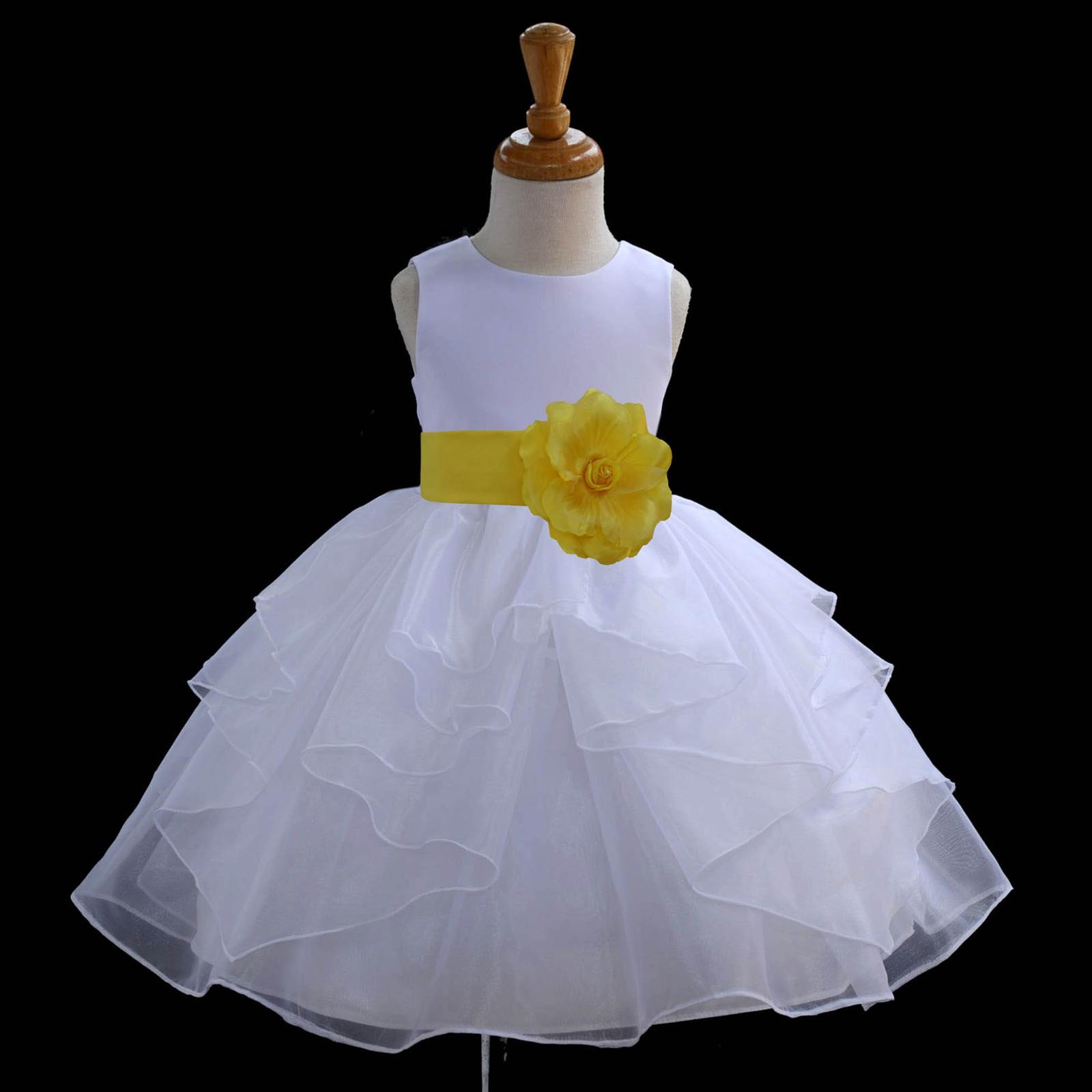 White/Sunbeam Satin Shimmering Organza Flower Girl Dress Wedding 4613S