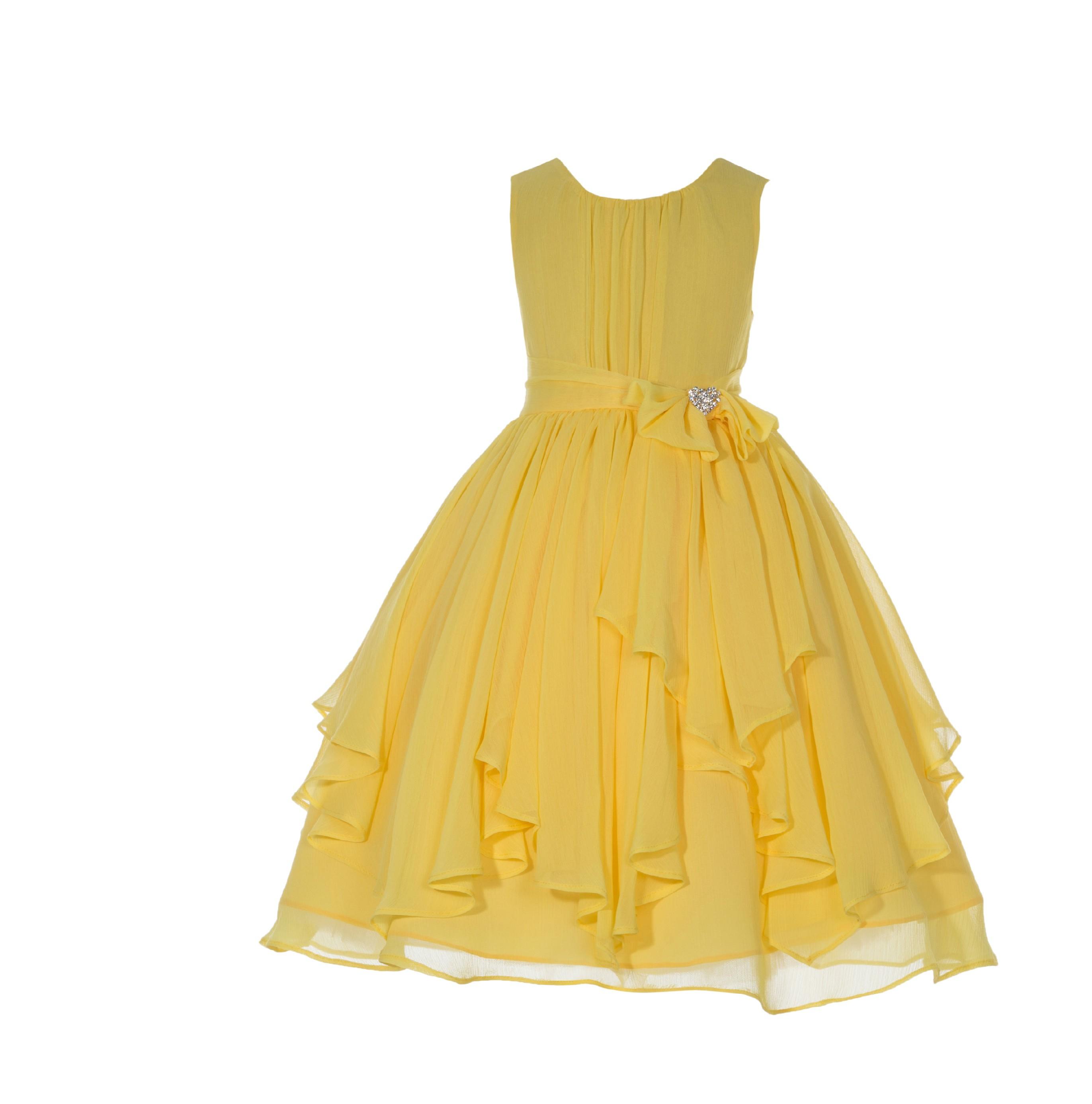Sunbeam Yoryu Chiffon Ruched Bodice Rhinestone Flower Girl Dress 162S