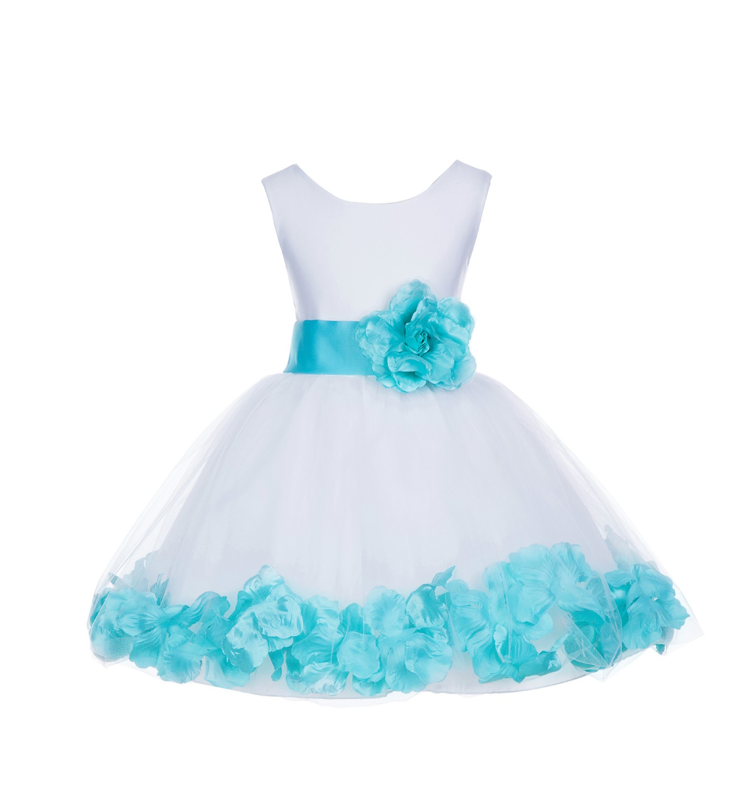 White/ Tiffany Blue Rose Petals Tulle Flower Girl Dress Wedding 305T