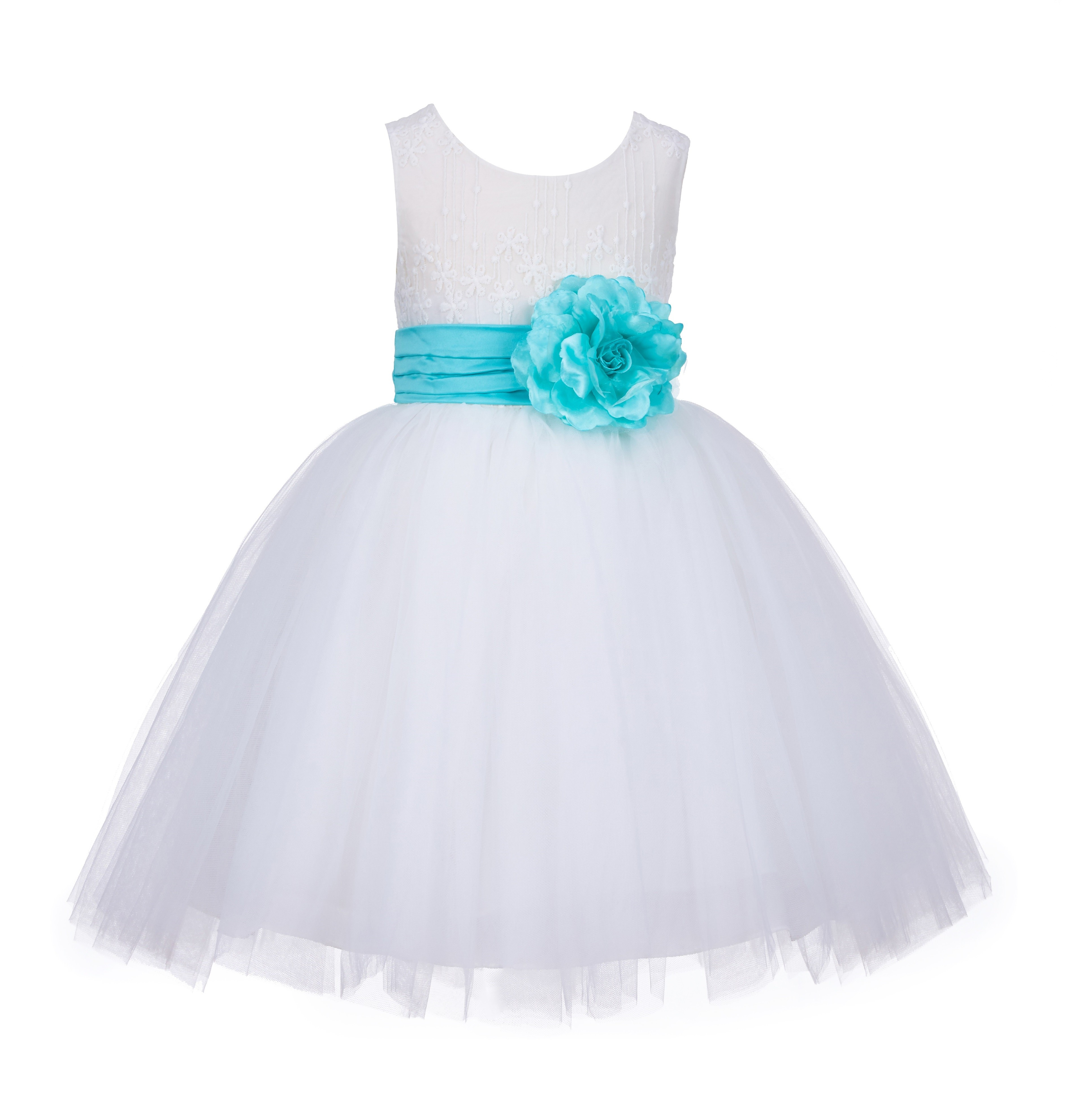 Ivorytiffany Lace Embroidery Tulle Flower Girl Dress Pageant 118
