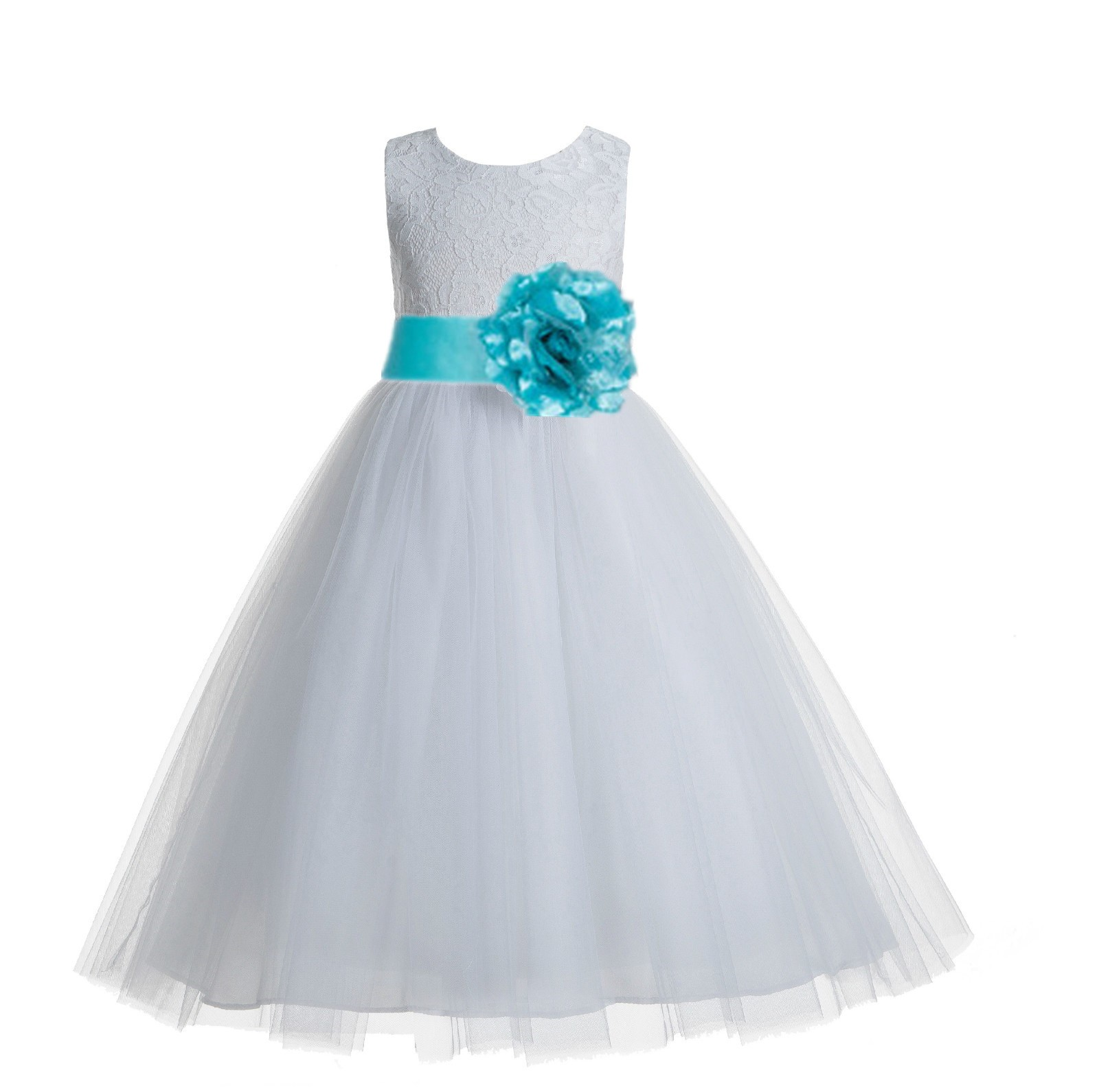 White Tiffany Blue Floral Lace Heart Cutout Flower Girl Dress With