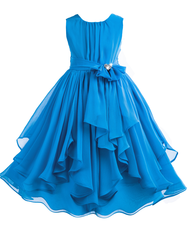 Turquoise Yoryu Chiffon Ruched Bodice Rhinestone Flower Girl Dress 162S