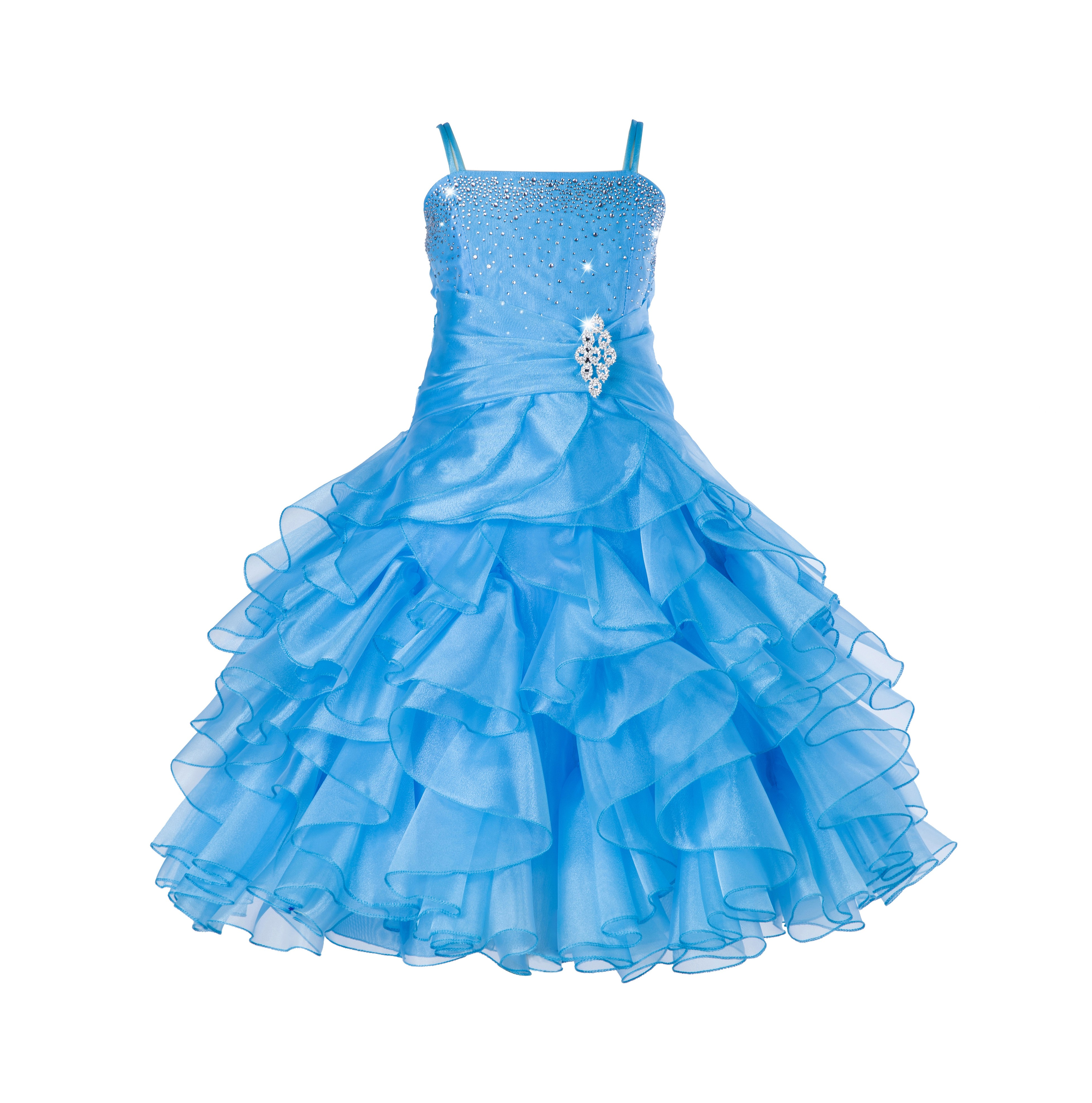 Turquoise Rhinestone Organza Layers Flower Girl Dress Elegant Stunning 164S