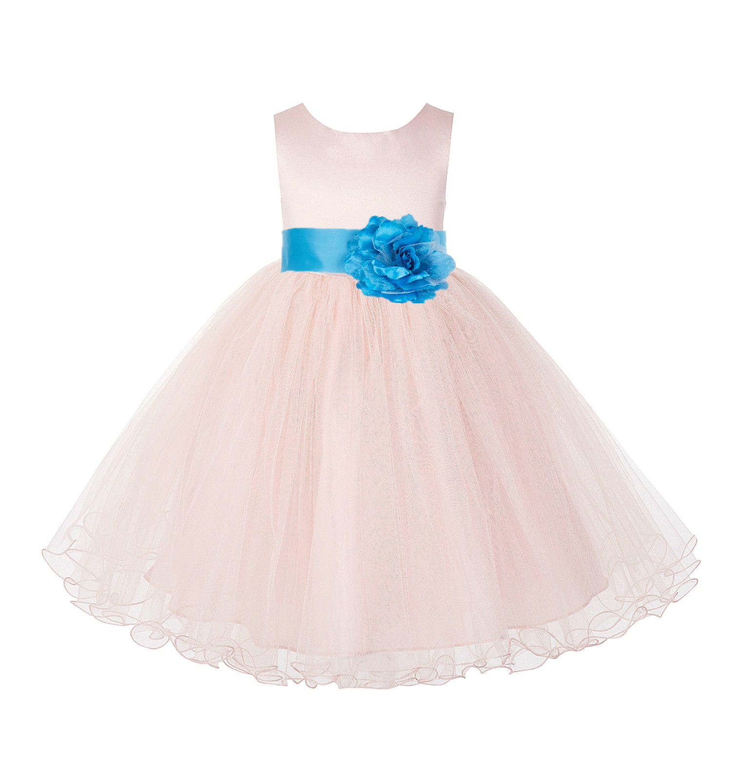 Blush Pink / Turquoise Tulle Rattail Edge Flower Girl Dress Pageant Recital 829S