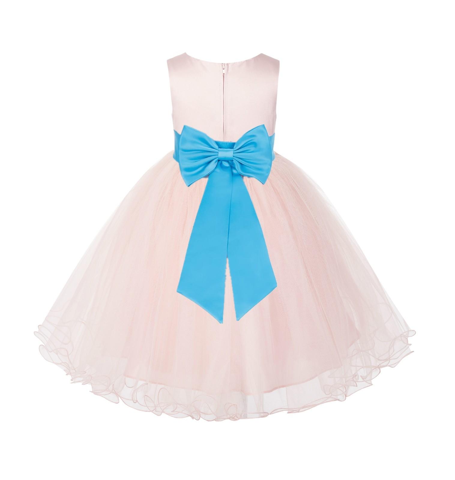 Blush PInk / Turquoise Tulle Rattail Edge Flower Girl Dress Wedding Bridesmaid 829T