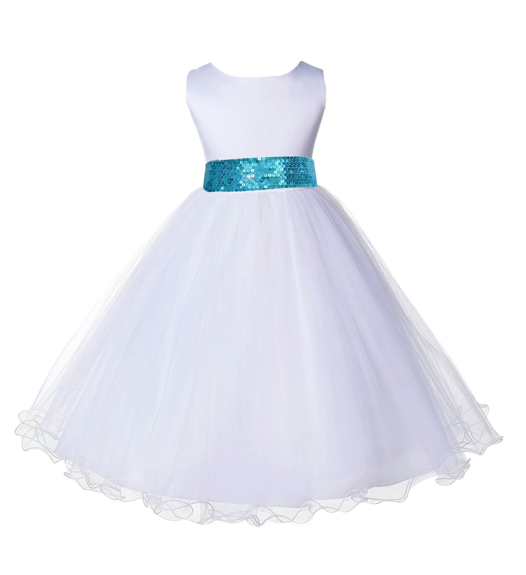 White Tulle Rattail Edge Turquoise Sequin Sash Flower Girl Dress 829mh