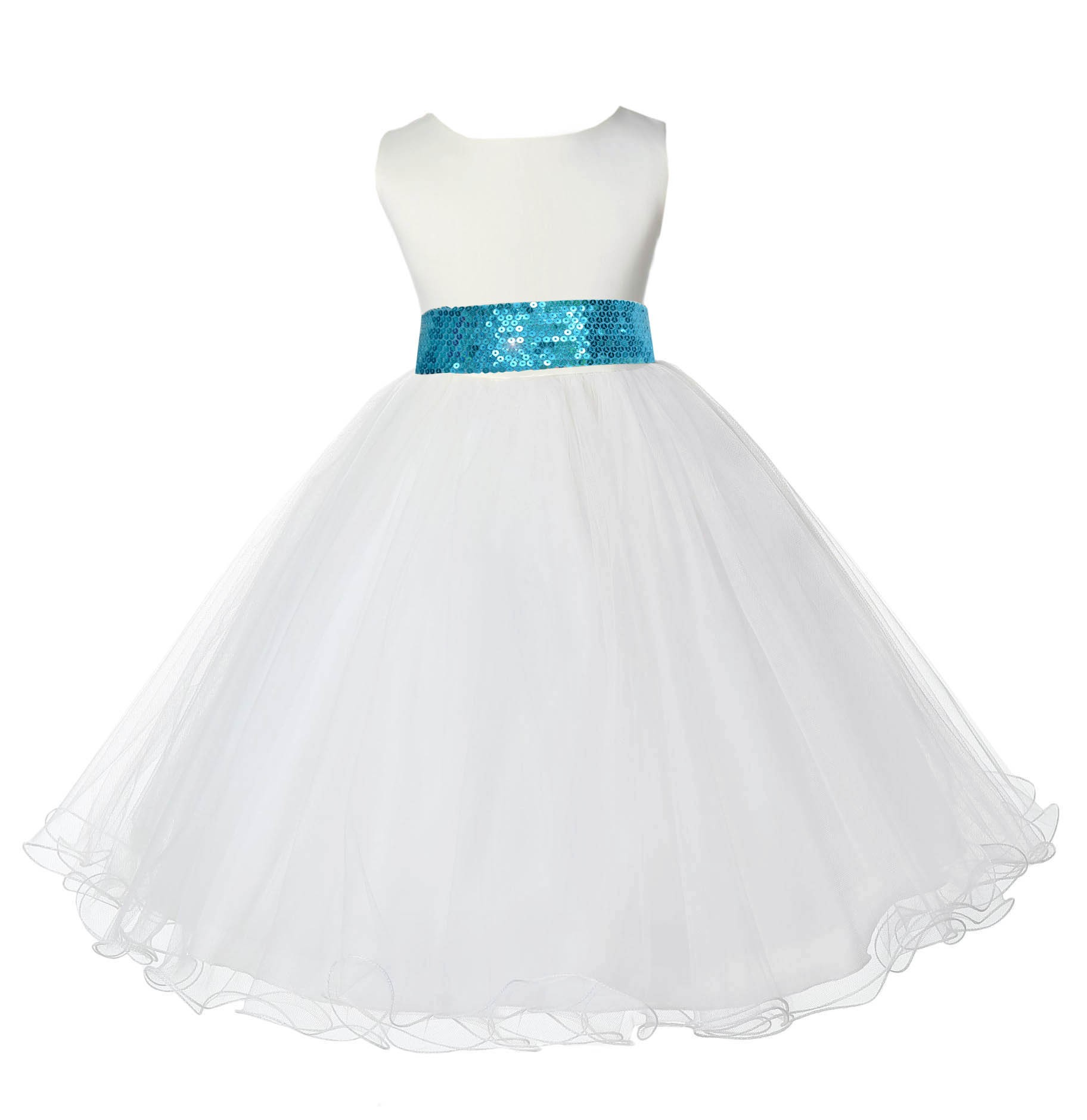 Ivory Tulle Rattail Edge Turquoise Sequin Sash Flower Girl Dress 829mh