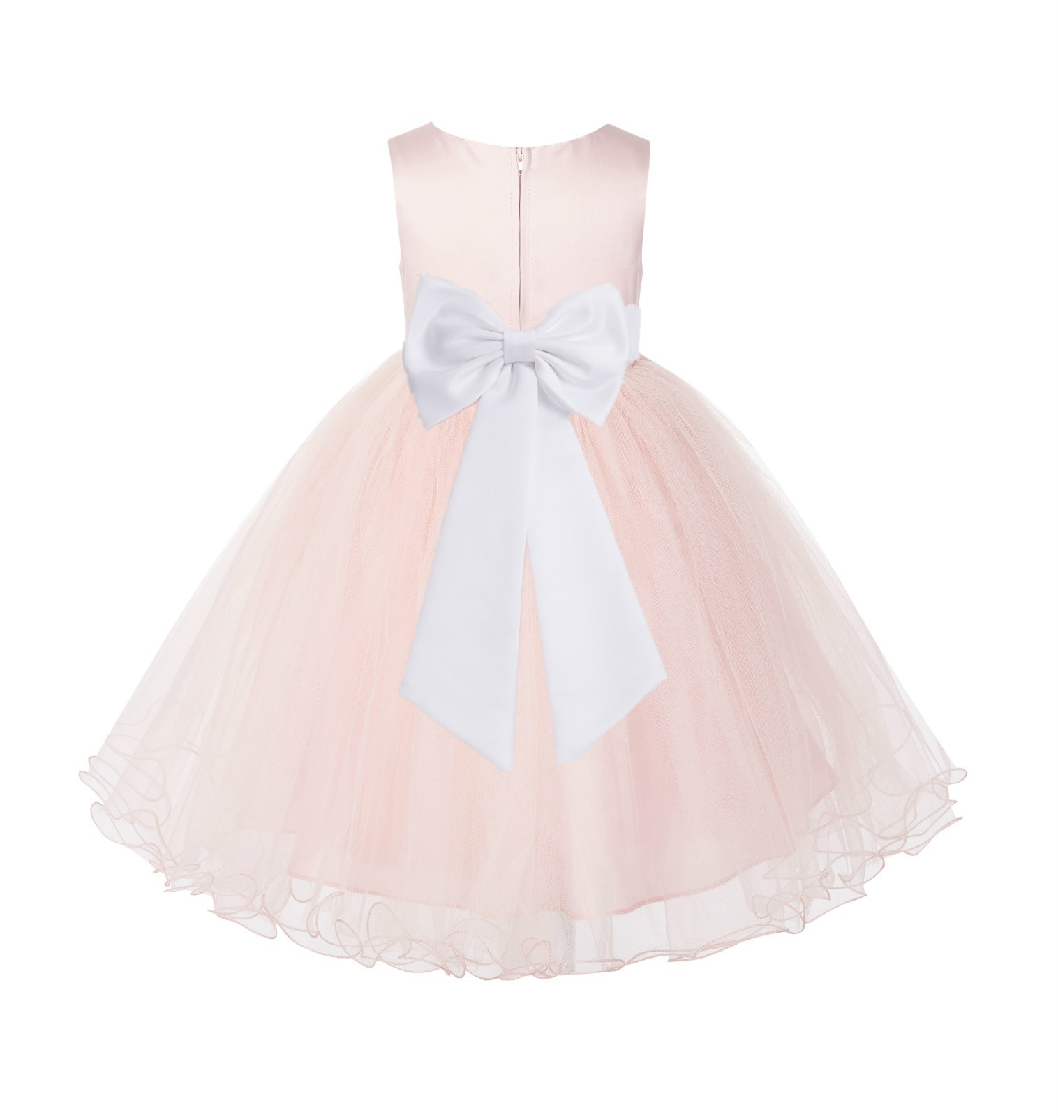 Blush PInk / White Tulle Rattail Edge Flower Girl Dress Wedding Bridesmaid 829T
