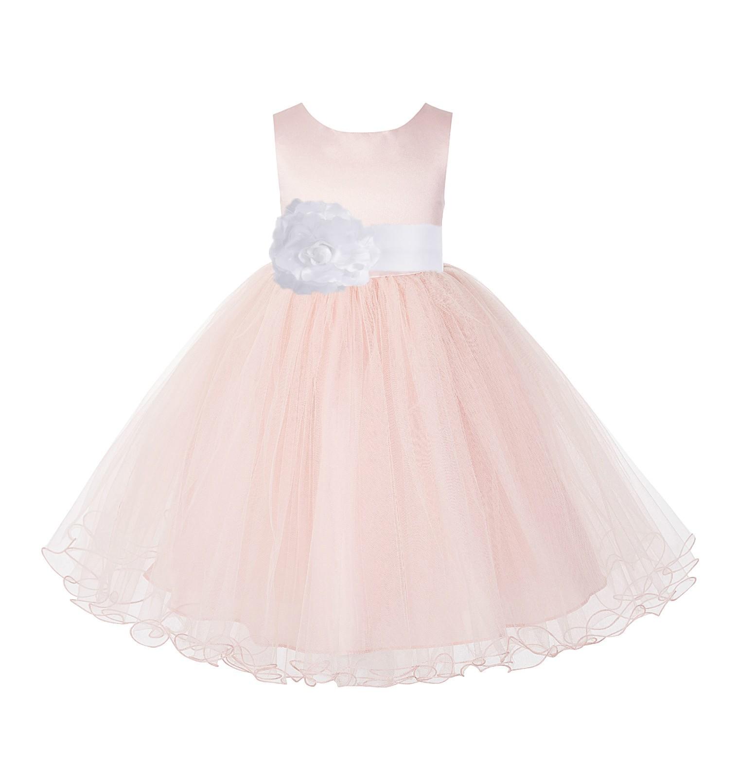 Blush Pink / White Tulle Rattail Edge Flower Girl Dress Pageant Recital 829S