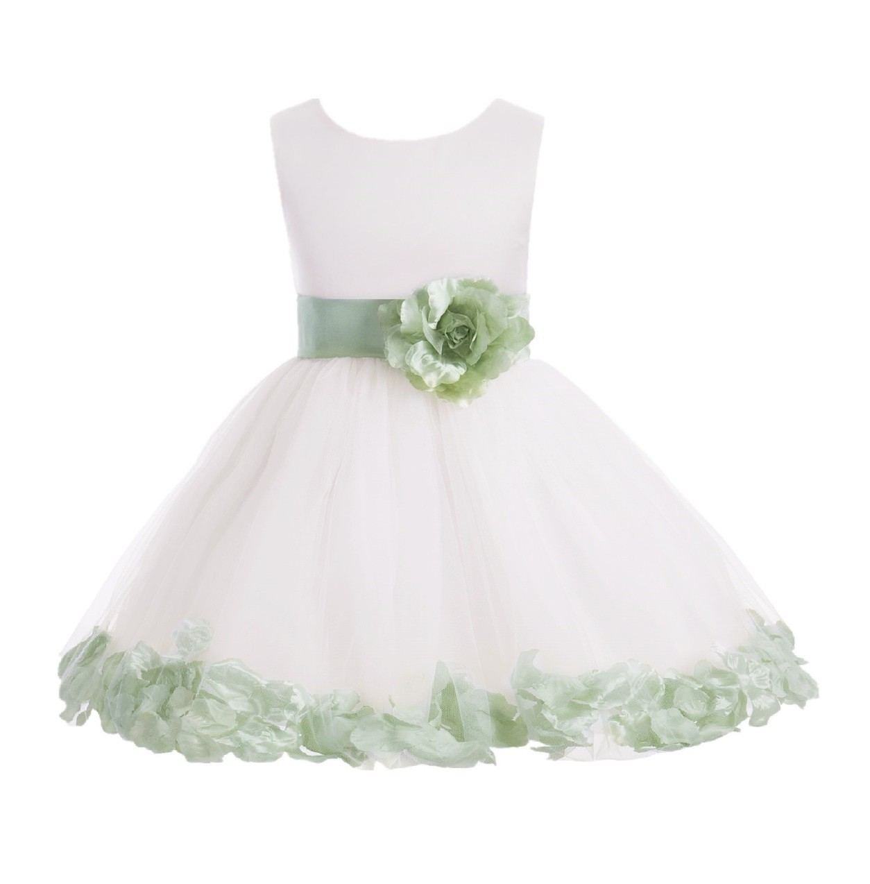 Ivory/ Sage Rose Petals Tulle Flower Girl Dress Pageant 305T