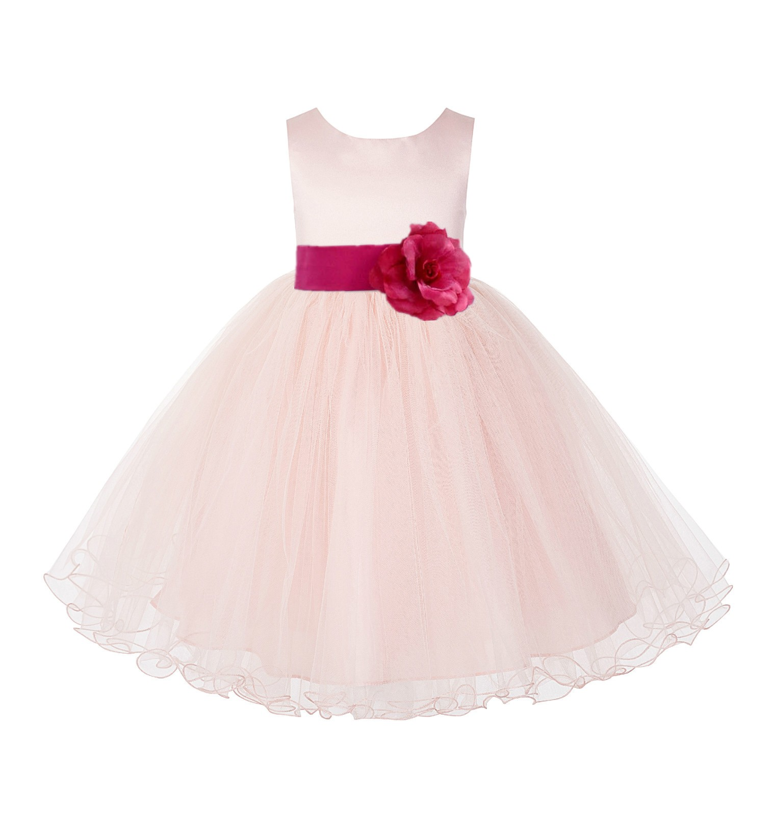 Blush PInk / Watermelon Tulle Rattail Edge Flower Girl Dress Wedding Bridesmaid 829T