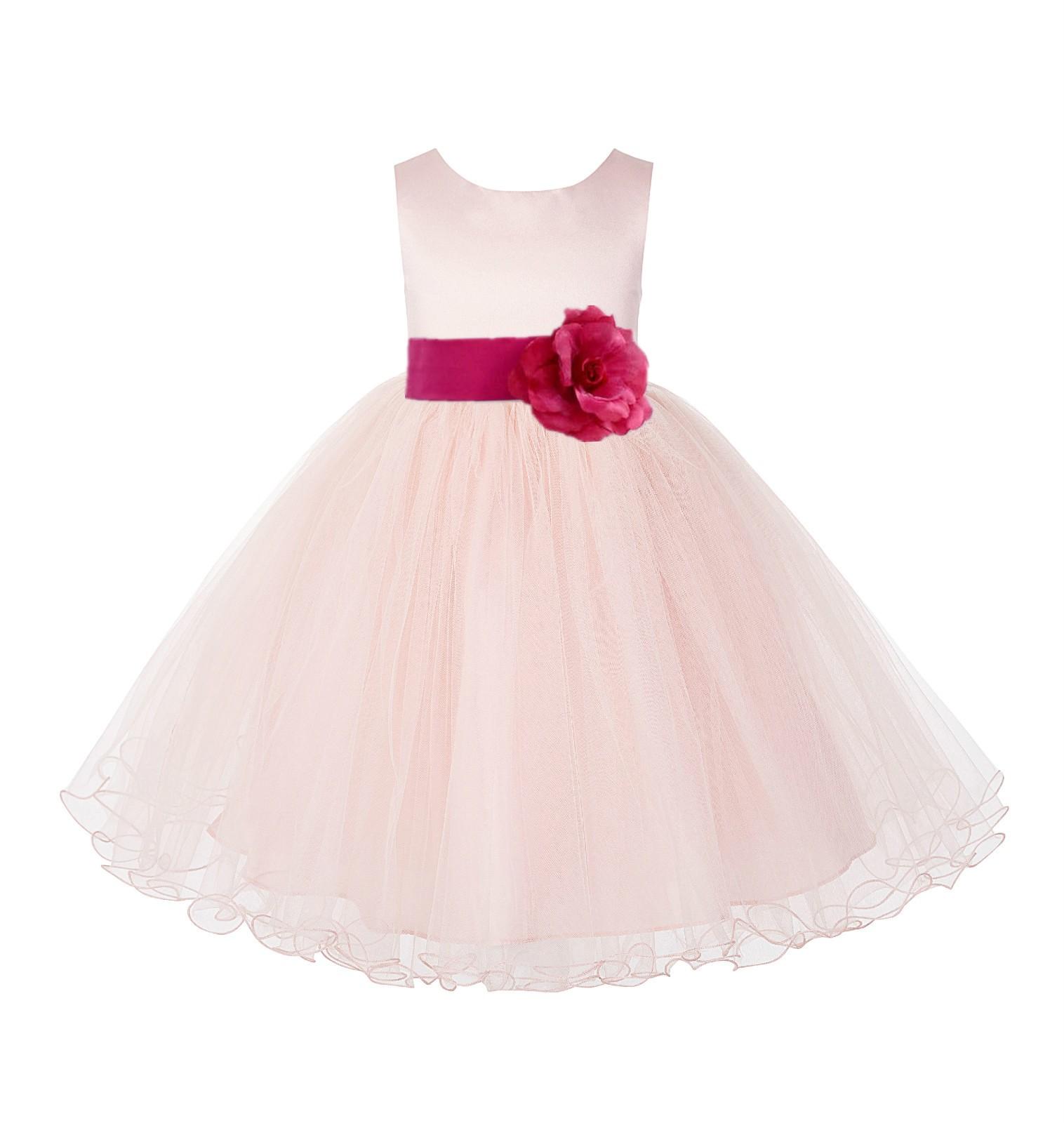 Blush PInk / Watermelon Tulle Rattail Edge Flower Girl Dress Wedding Bridesmaid 829T